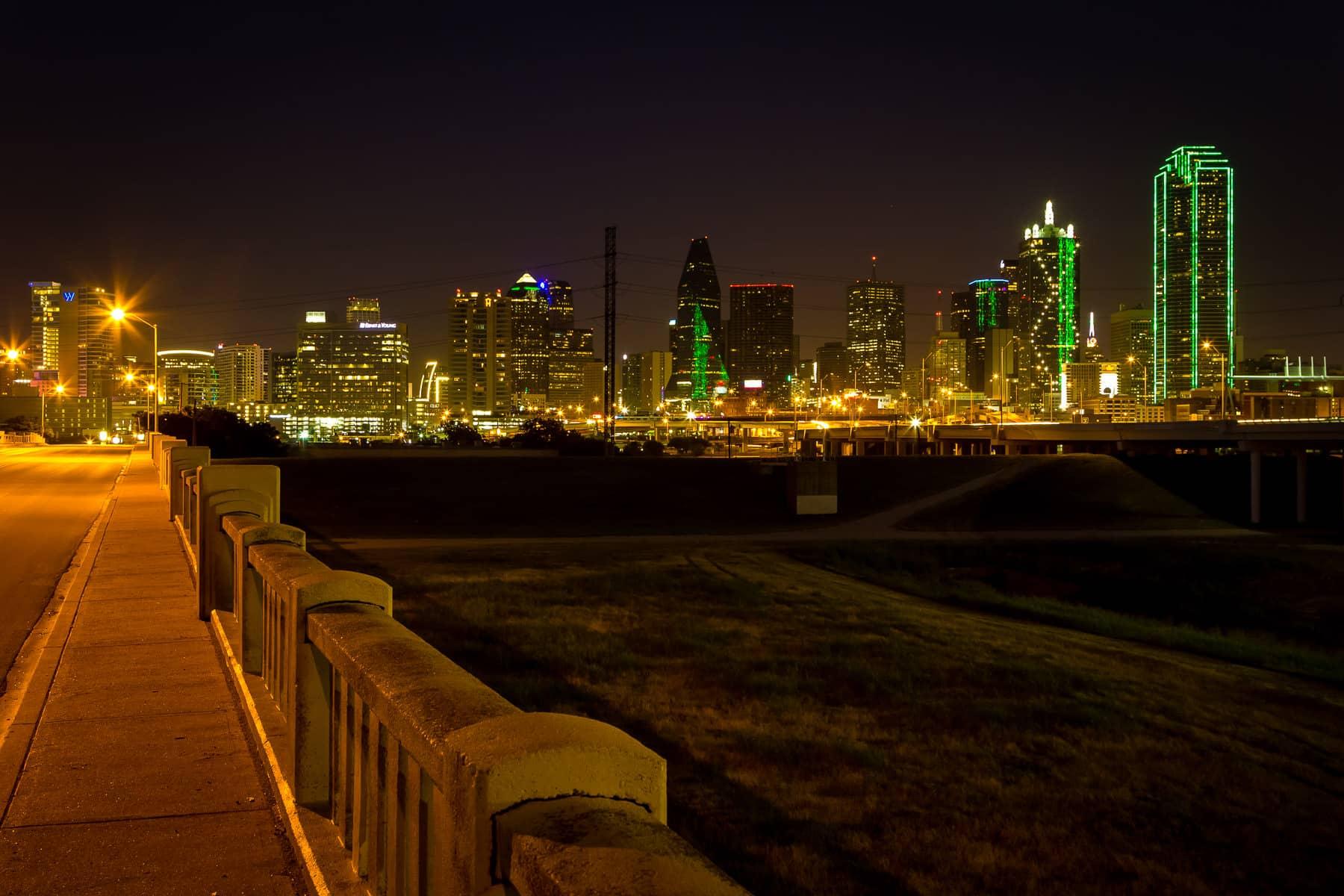 Dallas' distinctive skyline as seen from the Continental Avenue Bridge over the Trinity River floodplain.