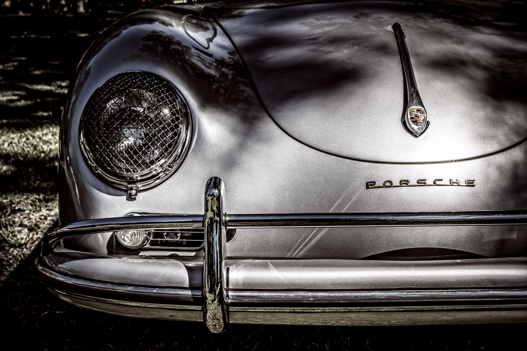 Detail of a Porsche 356 at Autos in the Park at Cooper Aerobics Center, Dallas.