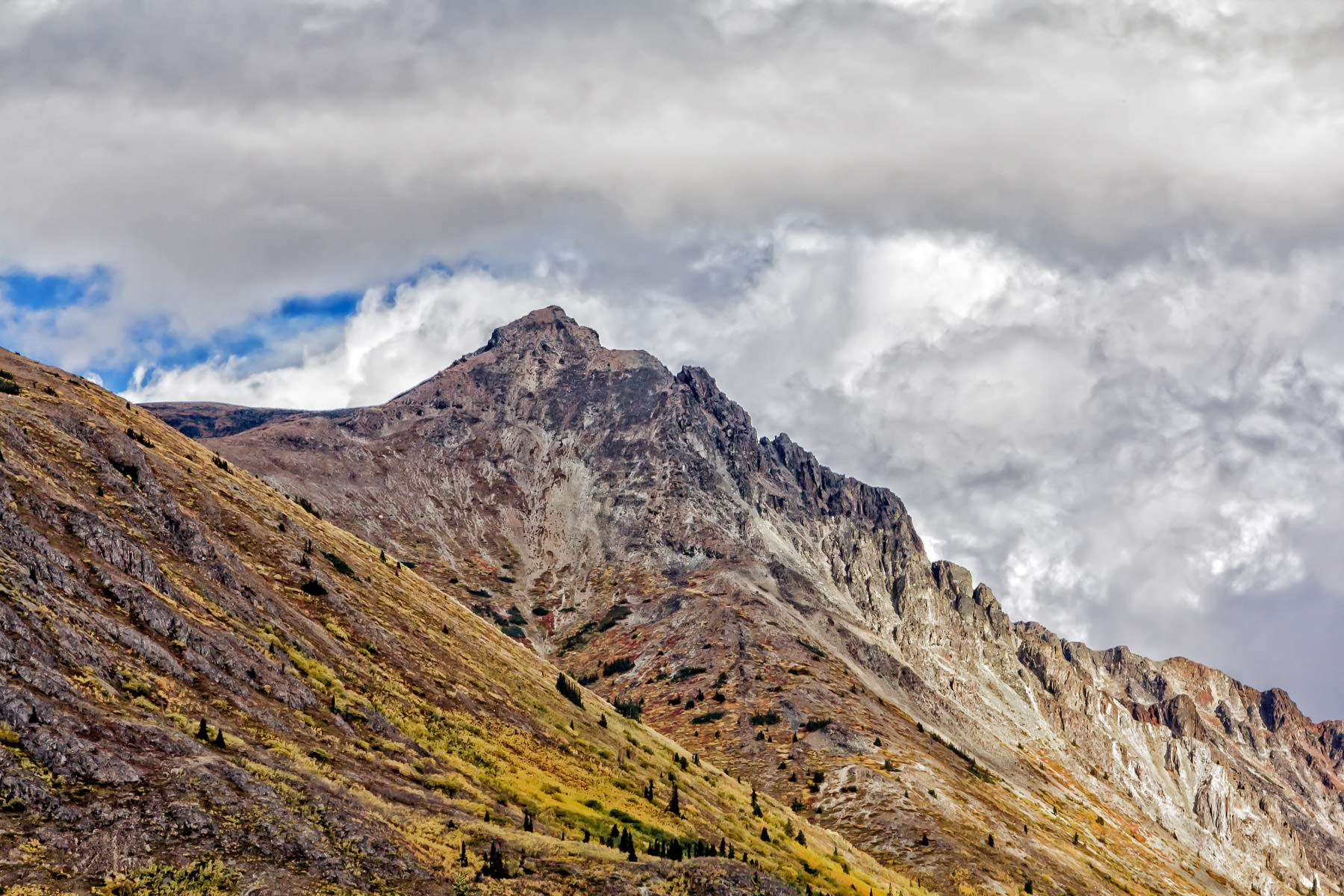 A rugged mountain top near the tiny village of Carcross, Yukon Territory, Canada.
