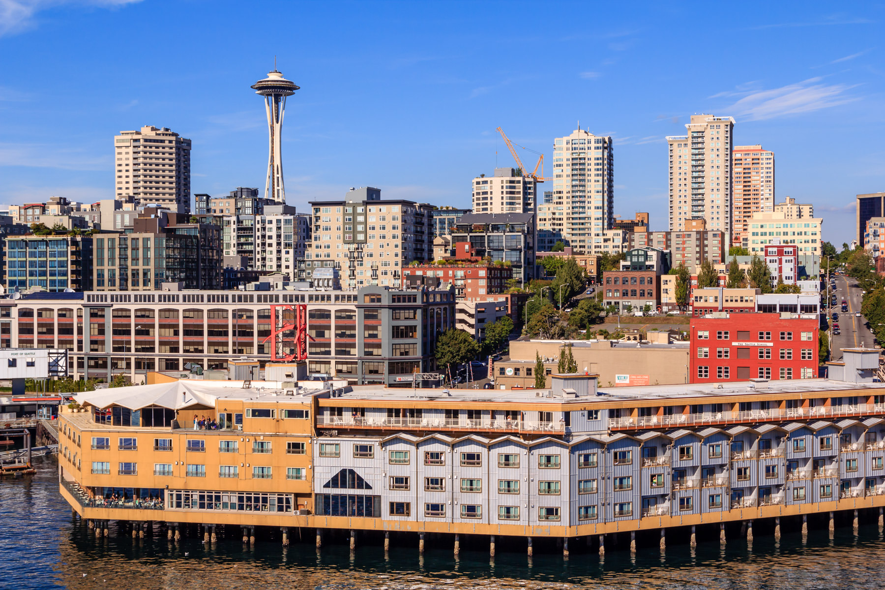 The Space Needle and part of Seattle's waterfront as seen from the deck of the cruise ship Norwegian Pearl.