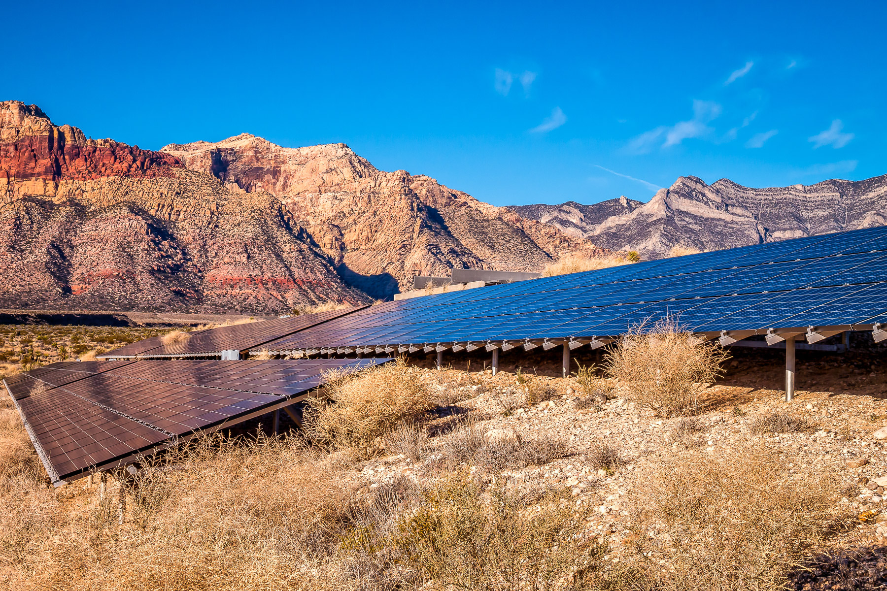 Solar panels provide electricity to the Red Rock Canyon Visitors Center, Nevada.