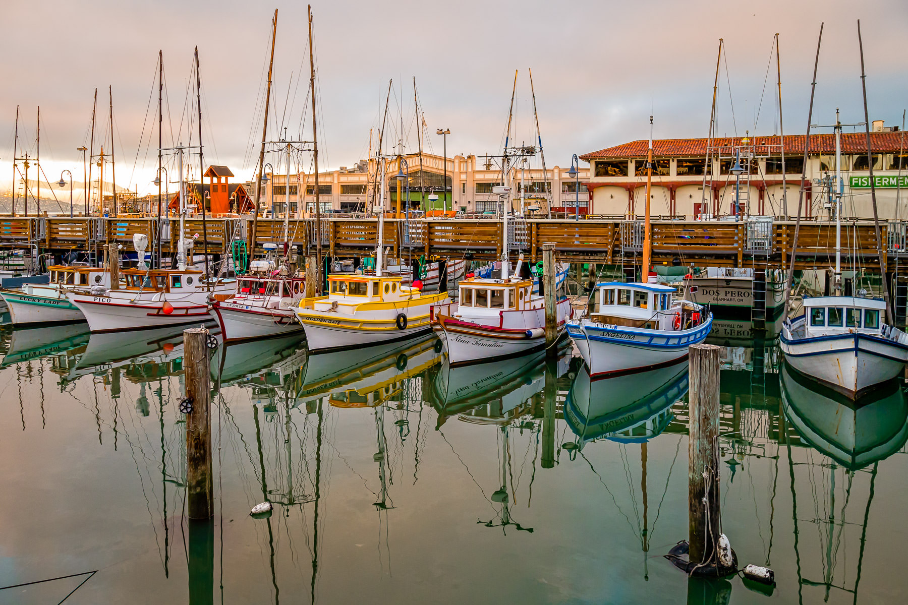 Multi-colored sailboats docked in the early morning near Fisherman's Wharf, San Francisco.