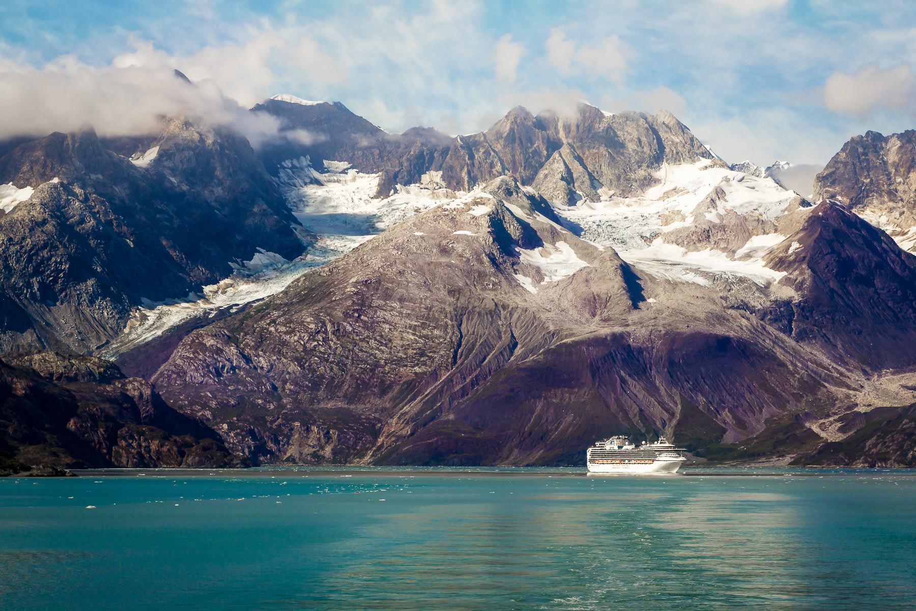 The cruise ship Sapphire Princess sails Glacier Bay in Alaska's Glacier Bay National Park.