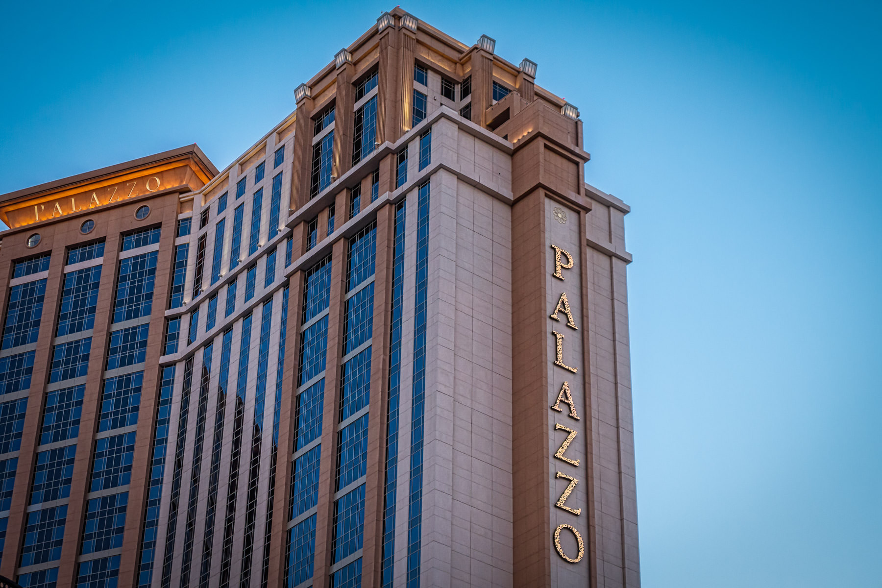 Las Vegas' Palazzo Hotel & Casino—the tallest building in Nevada and the largest by floor space in the United States—rises into the early morning sky.