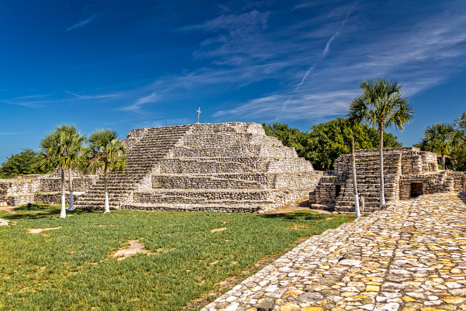 The ancient Mayan pyramid at Xcambo on the Yucatan Peninsula of Mexico.