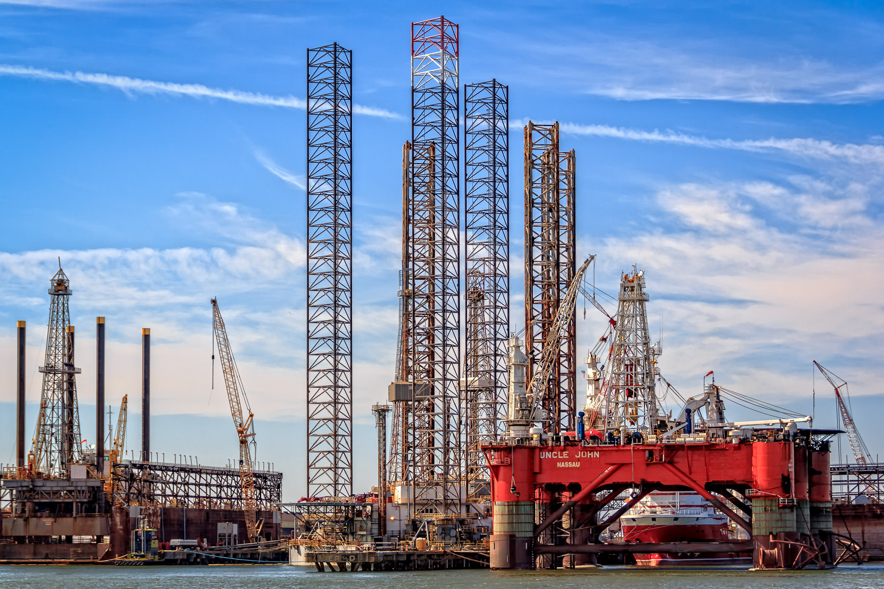 Oil platforms in drydock at Pelican Island, Galveston, Texas.