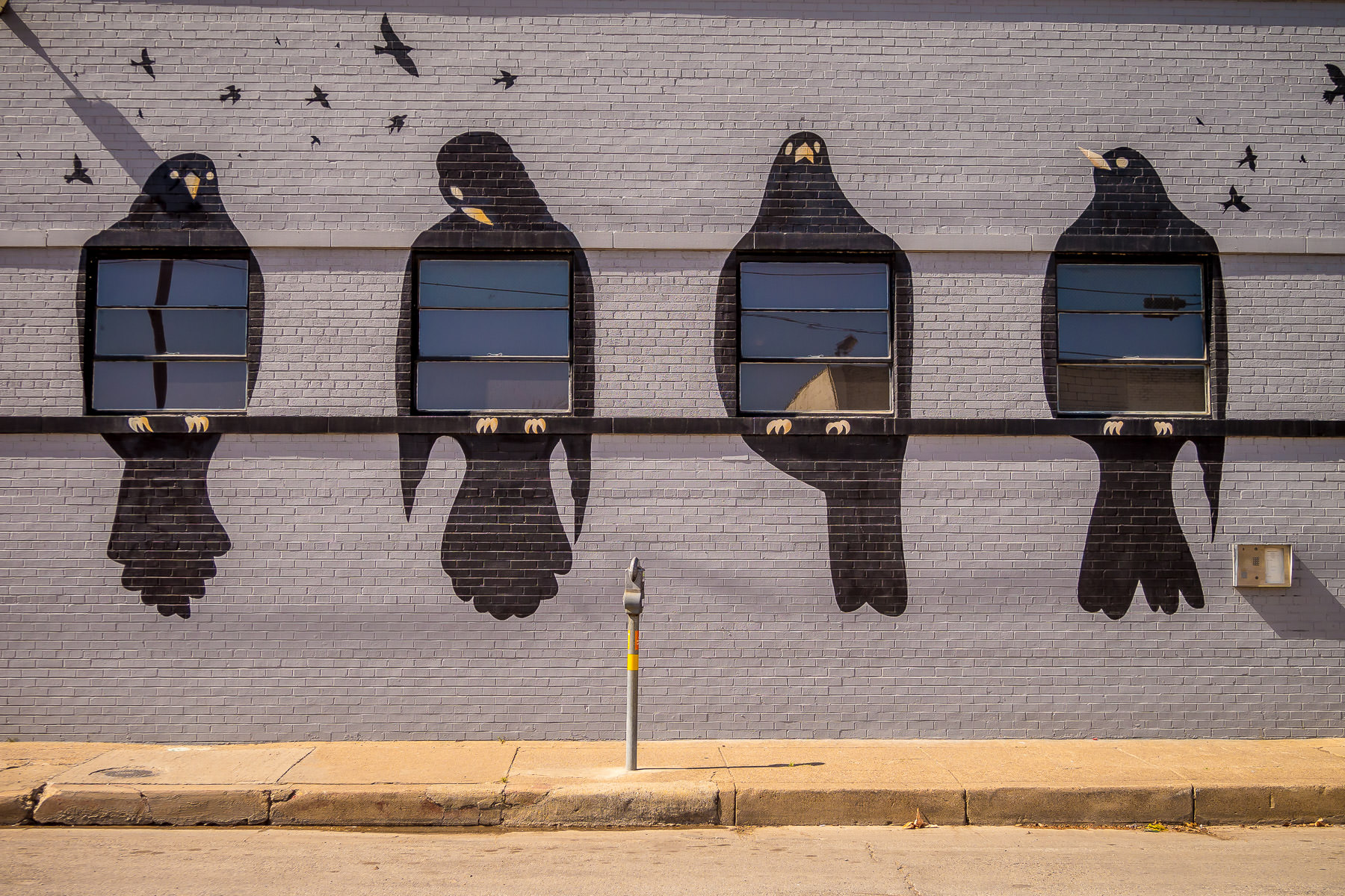 A mural of blackbirds frames four windows on a building in Deep Ellum, Dallas, Texas.