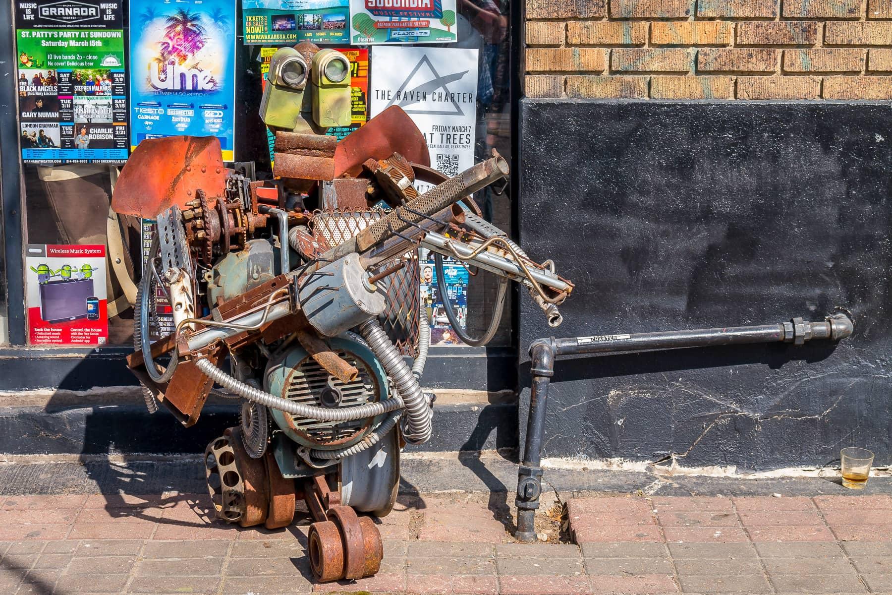 A street art sculpture made of old junk found in Dallas' Deep Ellum neighborhood.