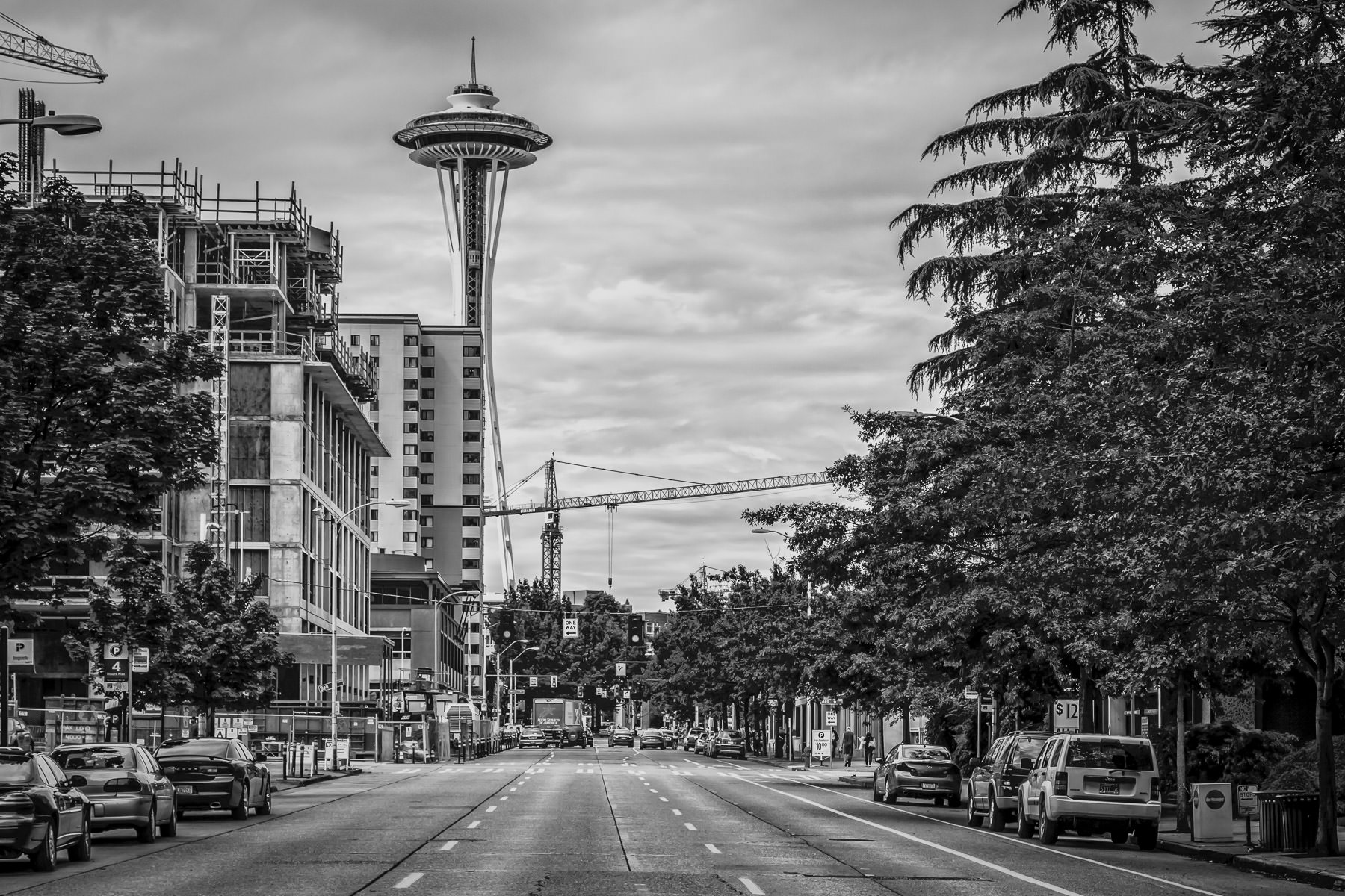 The Seattle Space Needle as seen along 6th Avenue near the intersection of Blanchard Street.