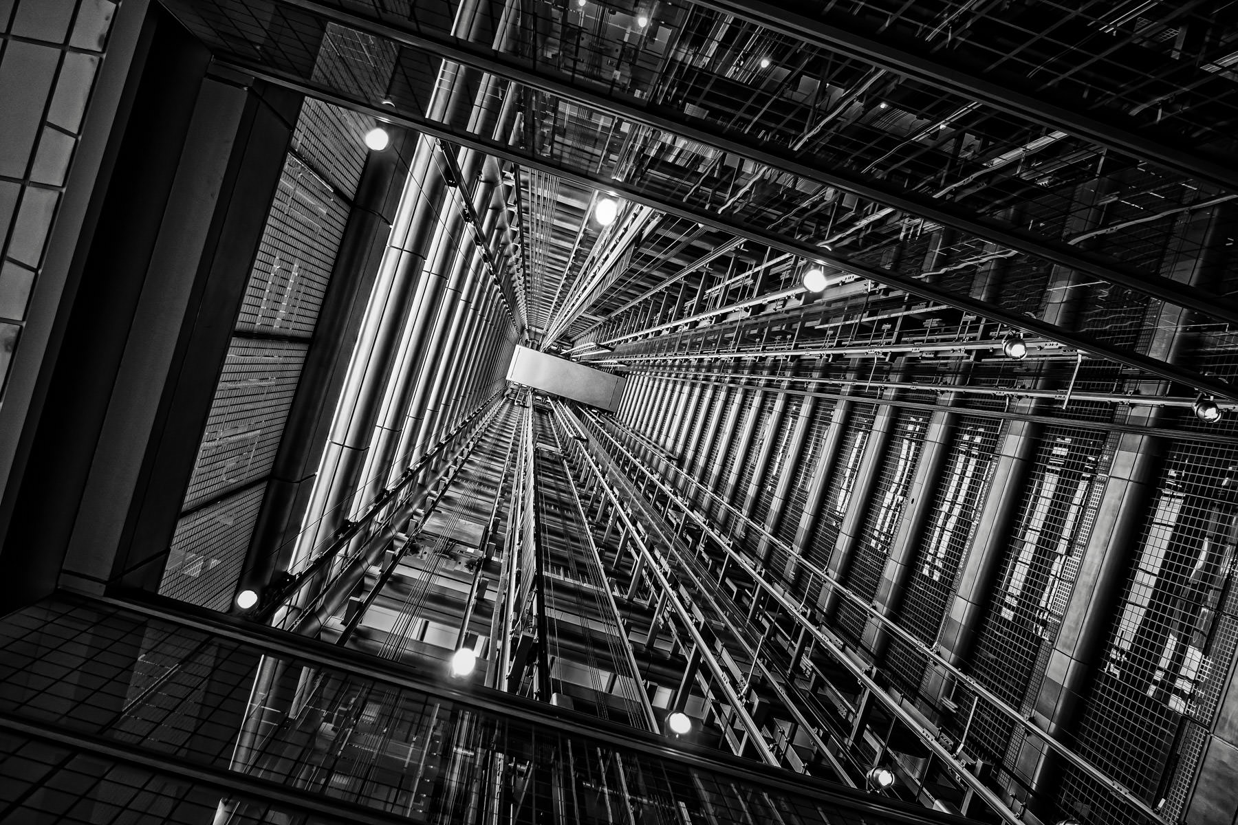 The open space between two elevator shafts at Chicago's 300 East Randolph (Blue Cross Blue Shield Tower) resembles a futuristic tunnel.