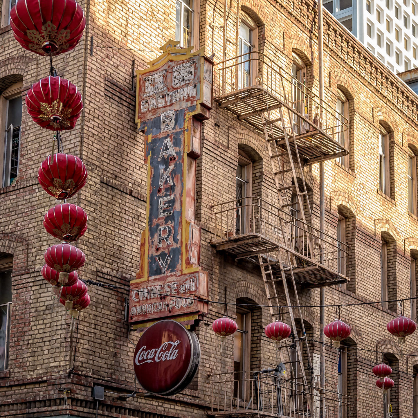 The decaying sign of the Eastern Bakery in San Francisco's Chinatown.