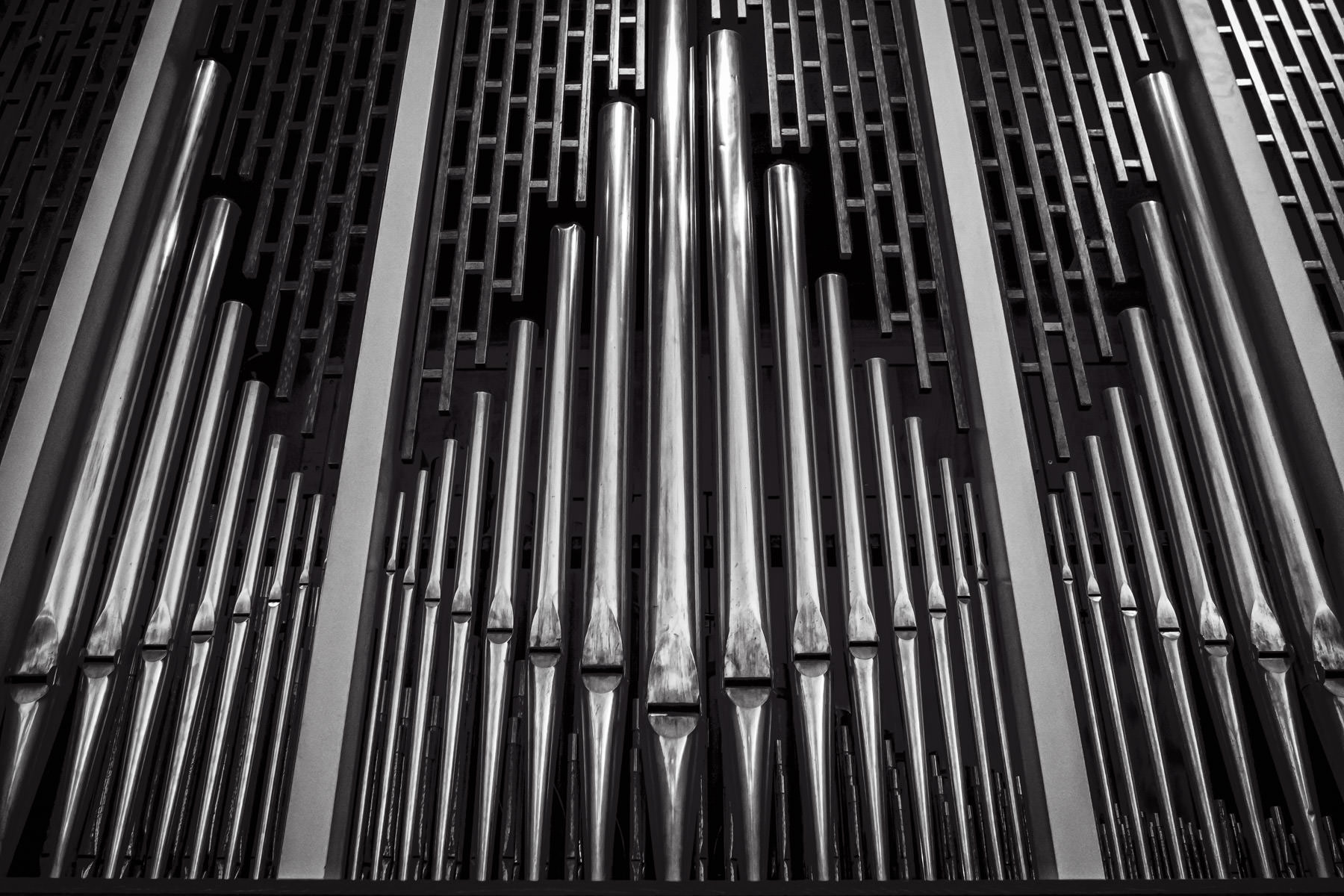 Detail of a few of the 3,750 pipes that make up the Æolian-Skinner Opus 1167 organ at Southern Methodist University's Perkins Chapel in Dallas.