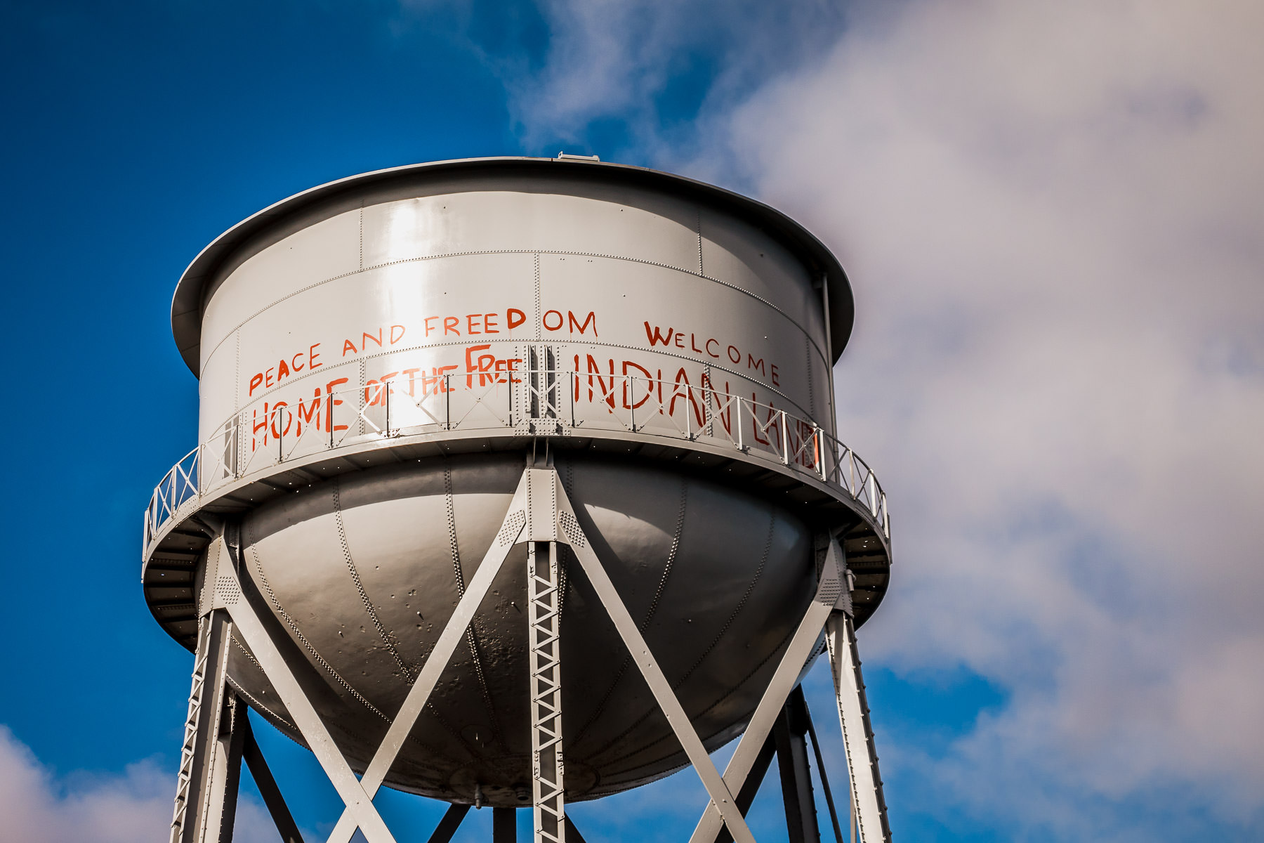 Graffiti on the water tower at Alcatraz Island, a relic of the nineteen-month (November 20, 1969, to June 11, 1971) occupation of the island by the Indians of All Tribes organization.