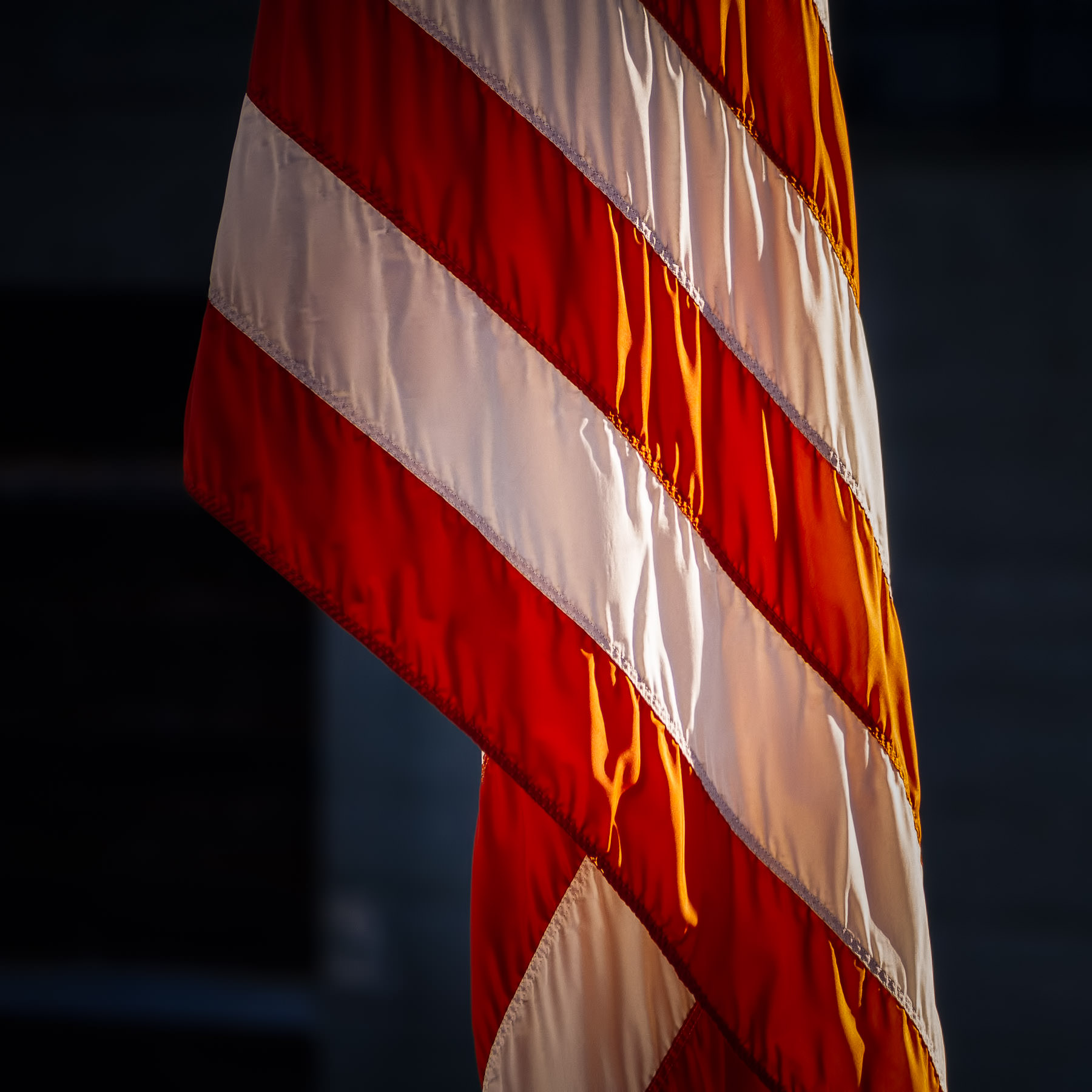 Detail of an American flag spotted at San Francisco's Pier 33, the embarkation point for cruises to Alcatraz Island.