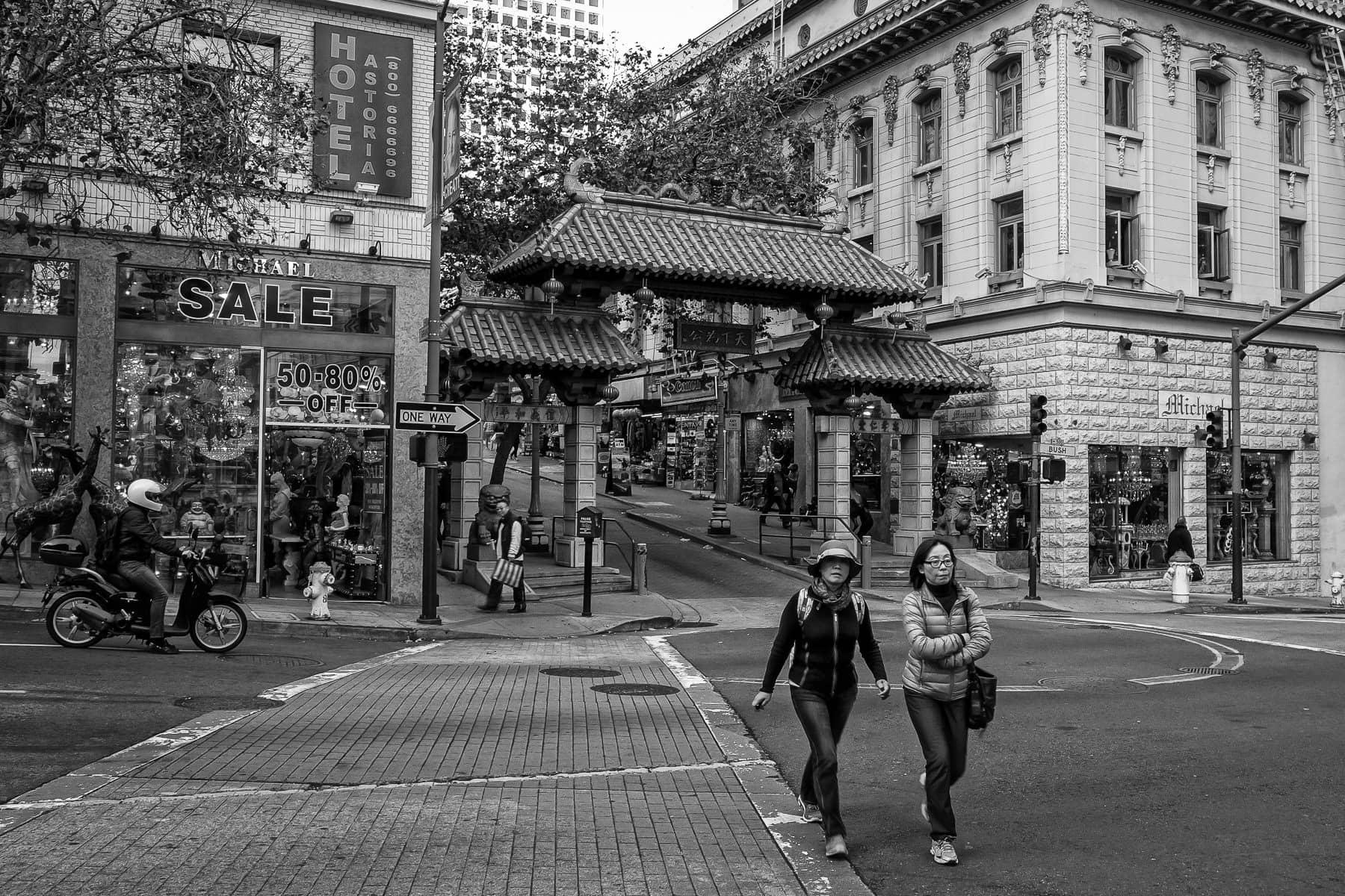 The Chinatown Dragon's Gate along San Francisco's Bush Street.