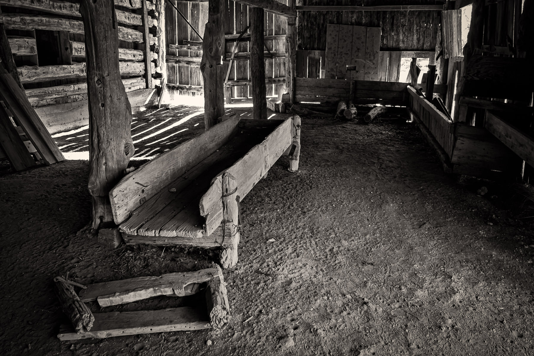 Inside an old, decaying barn at Penn Farm, Cedar Hill State Park, Texas.