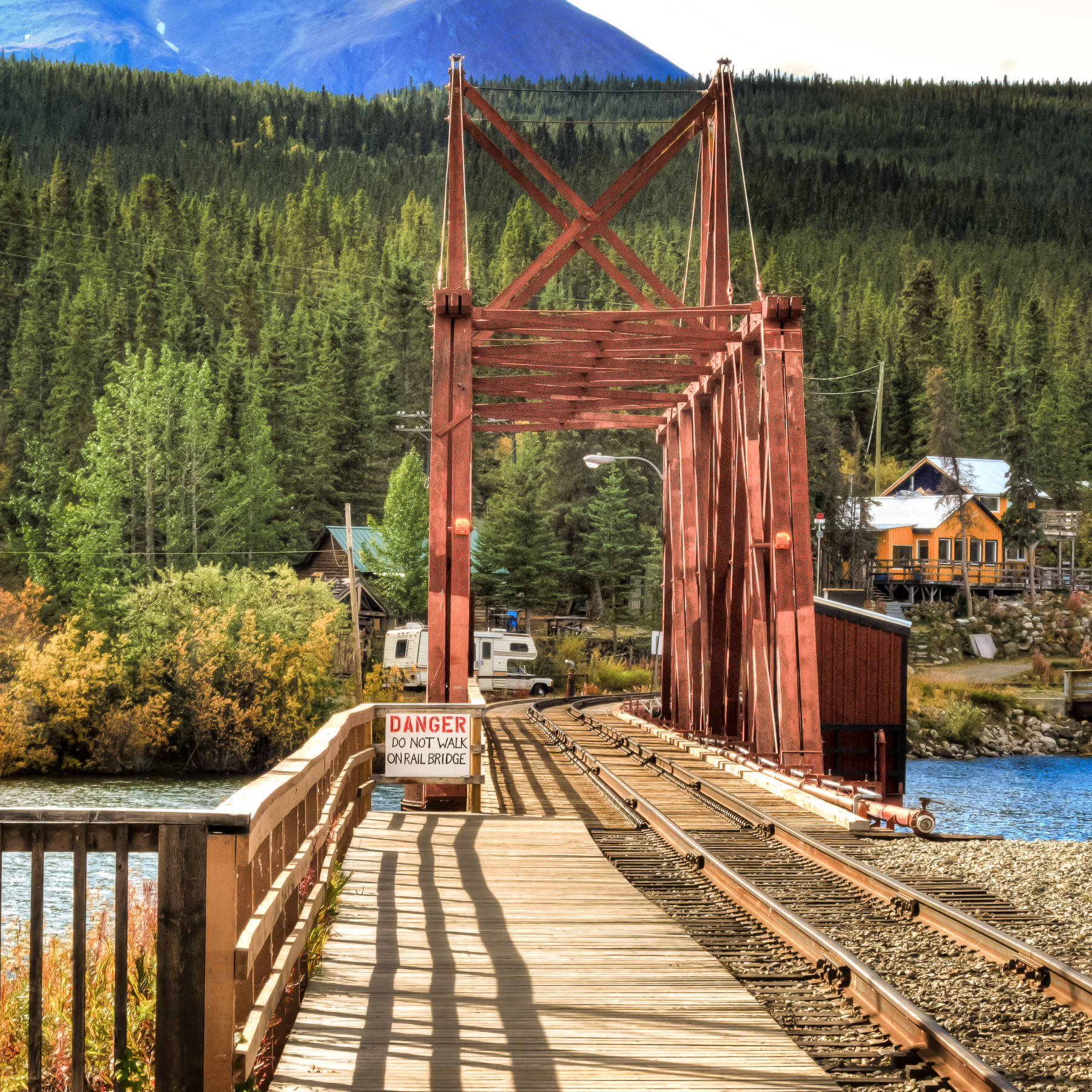 A railroad bridge in the tiny village of Carcross, Yukon Territory, Canada.
