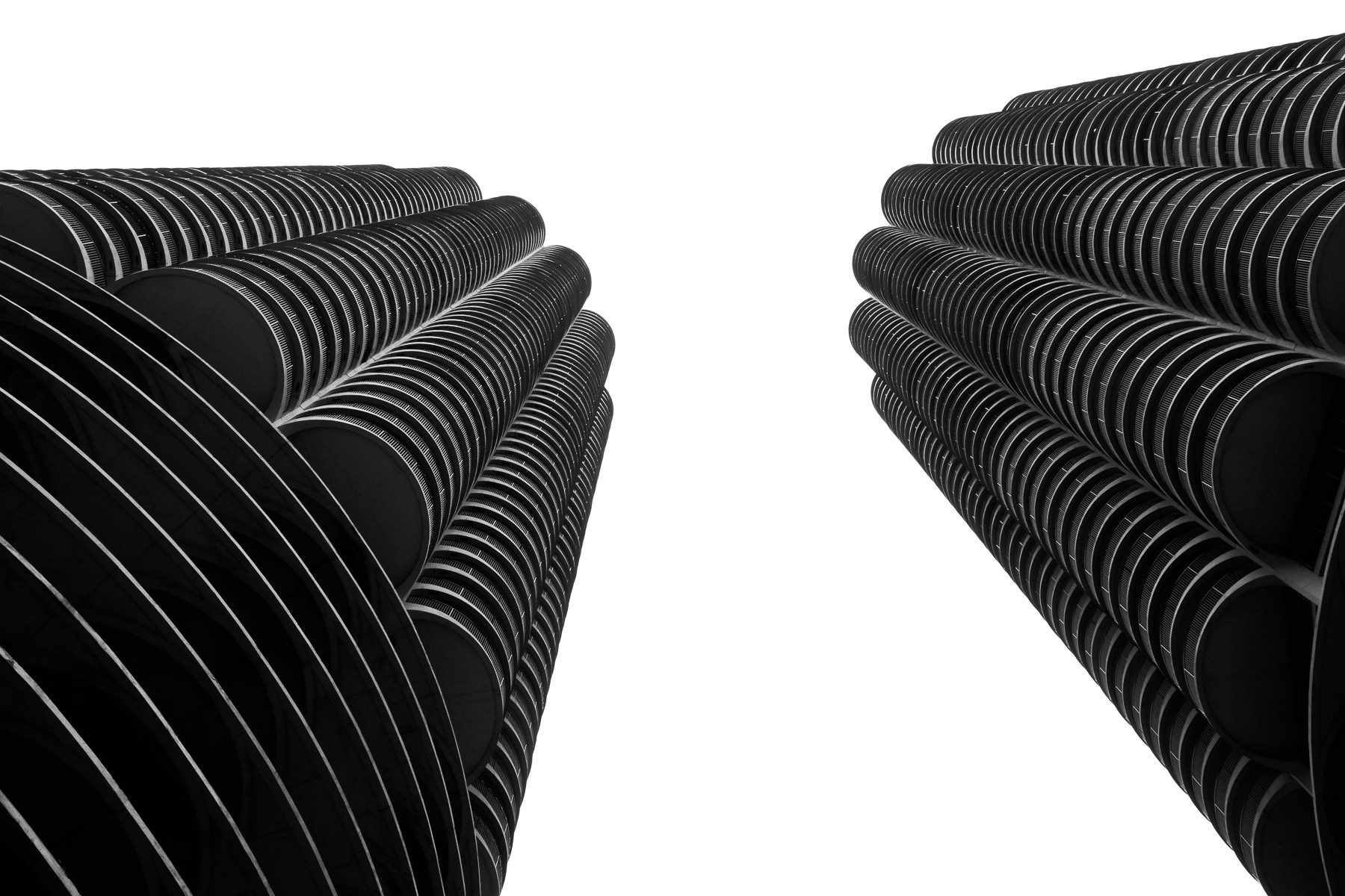 Chicago's Marina City towers resemble giant corncobs rising into the Illinois sky.