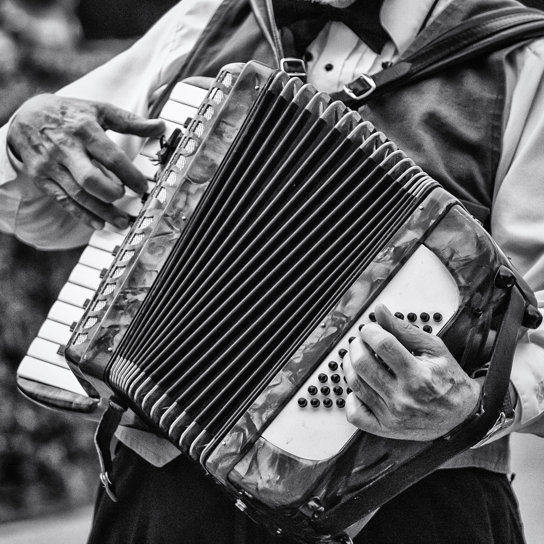 An accordionist plays his instrument at Addison Oktoberfest, Addison, Texas.
