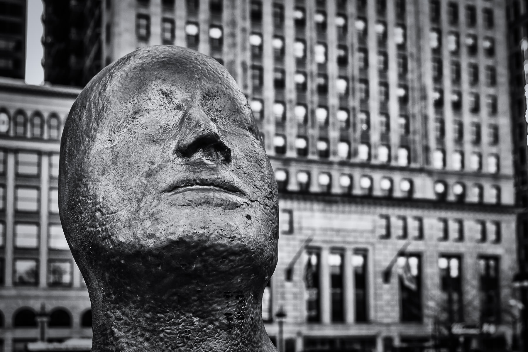 "Detail of the scultpure ""Borders"" by Icelandic artist Steinunn Thorarinsdottir in Chicago's Grant Park, adjacent to the Art Institute of Chicago."