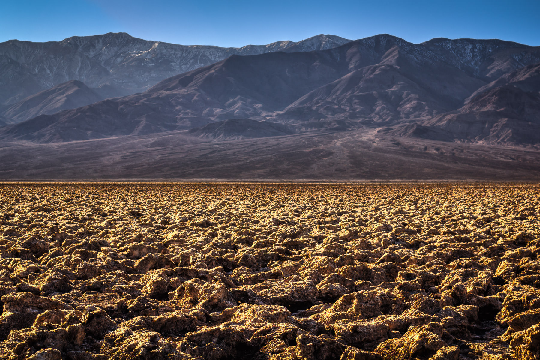 Large halite salt formations make up the rugged landscape of Death Valley National Park's Devil's Golf Course.