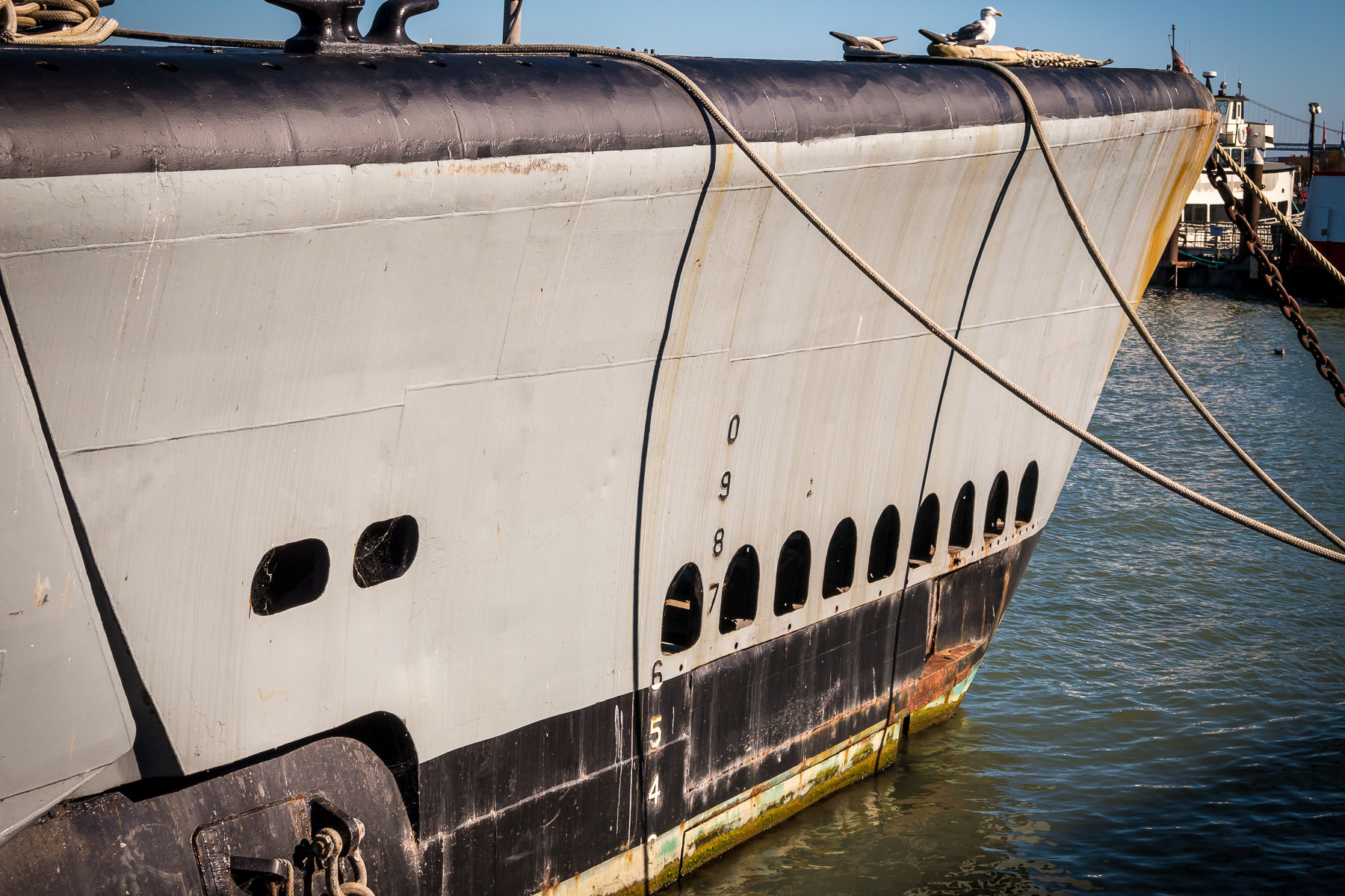 Detail of the bow of the World War II-era submarine USS Pampanito, now on display at San Francisco's Fisherman's Wharf.