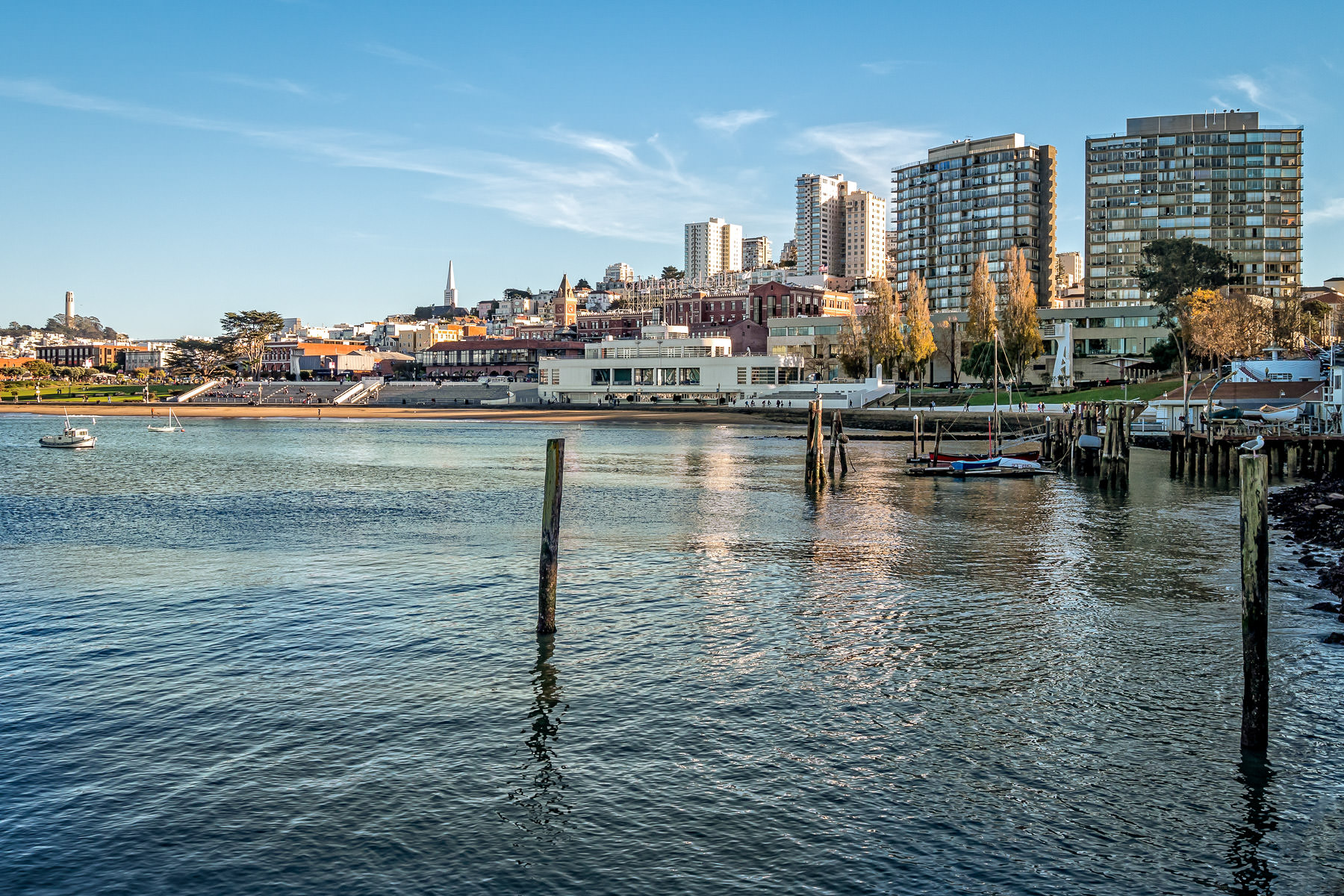 San Francisco landmarks, including Coit Tower, the Transamerica Pyramid and Ghirardelli Square rise beyond the city's historic Aquatic Park.