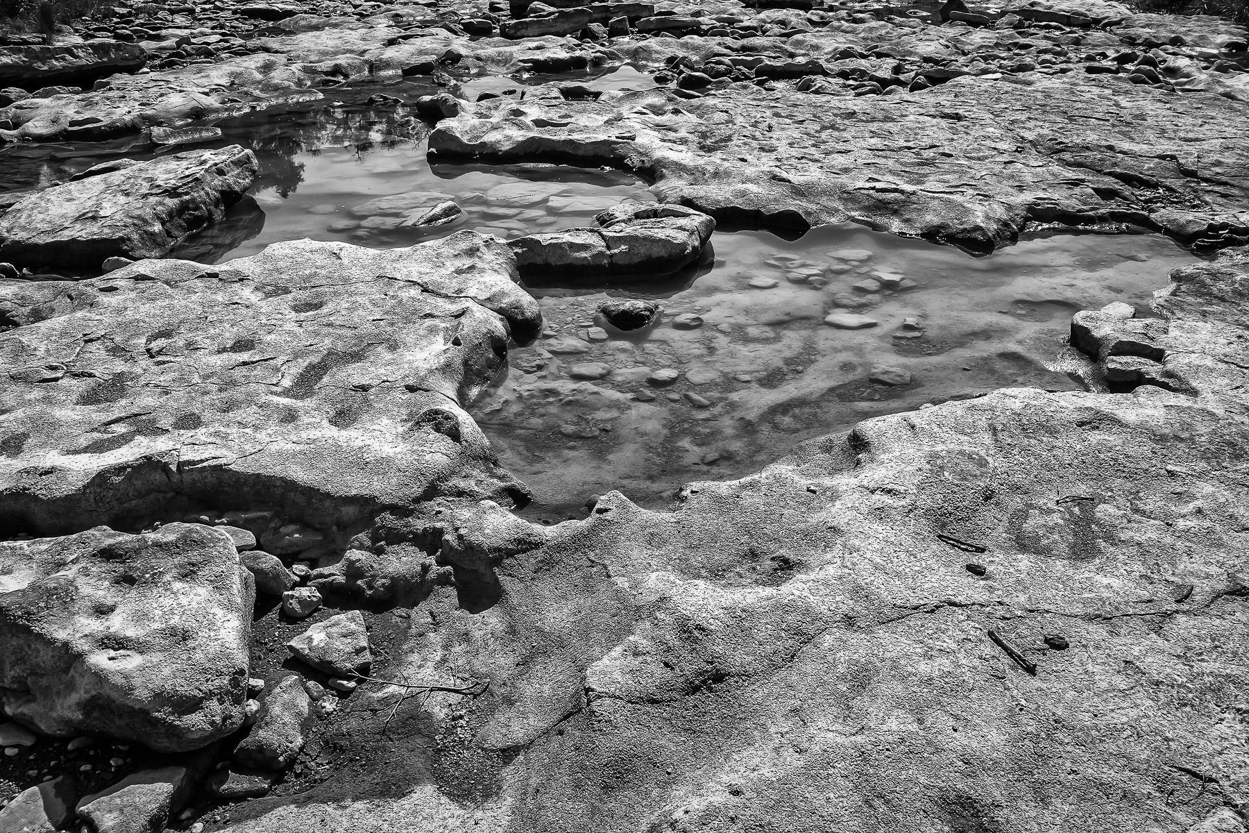Some of what little water is left in the drought-stricken Paluxy River at Dinosaur Valley State Park, Texas.