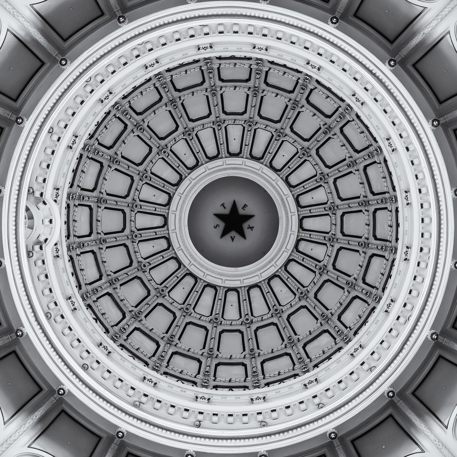 Interior detail of the dome atop the rotunda of the Texas State Capitol, Austin.