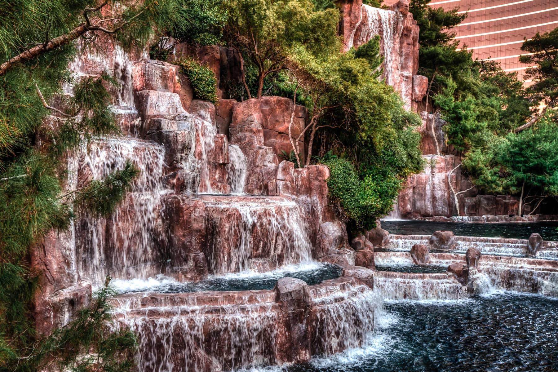 The waterfalls outside of the Wynn Las Vegas Hotel & Casino.