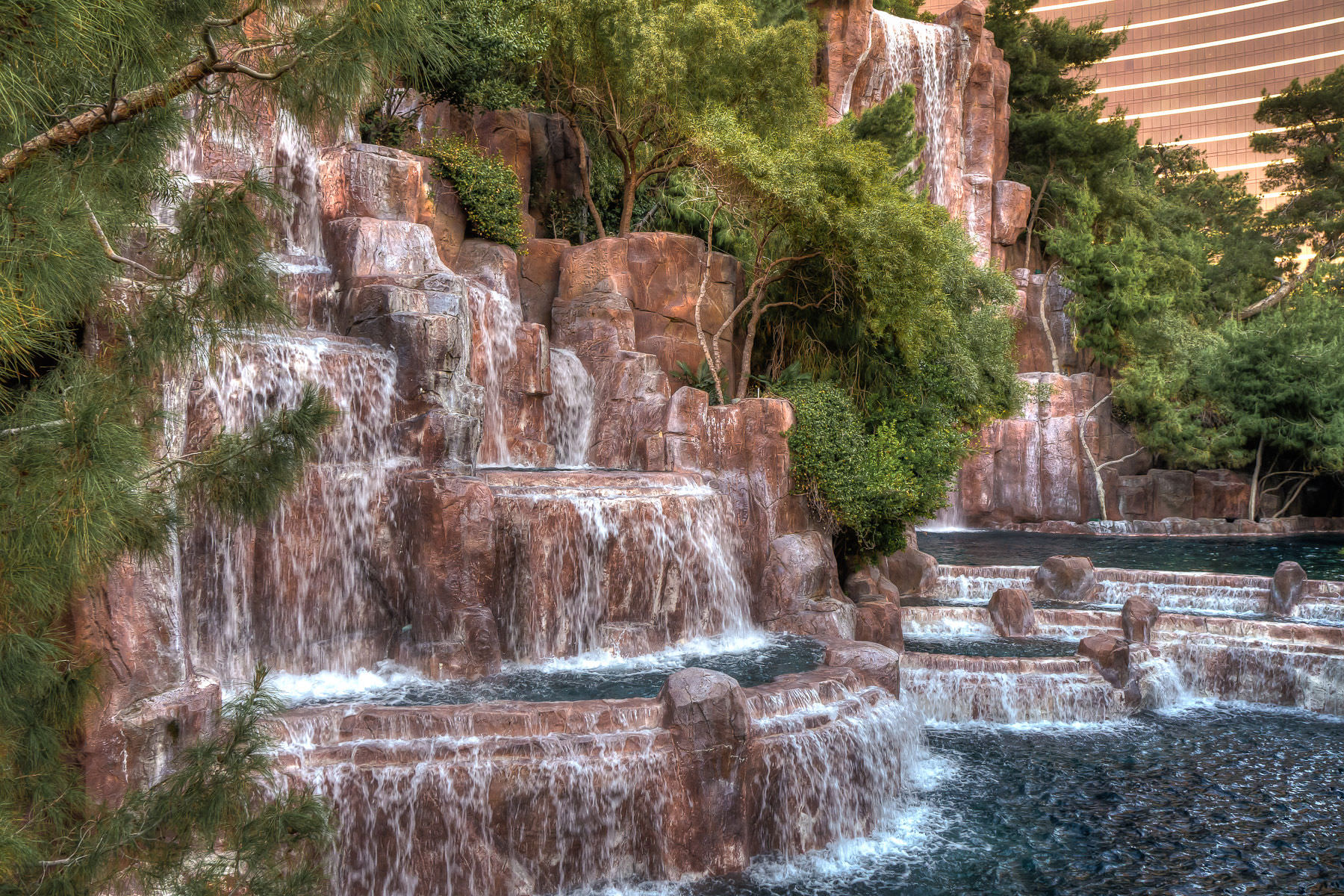 The waterfalls outside of the Wynn Las Vegas Hotel & Casino.