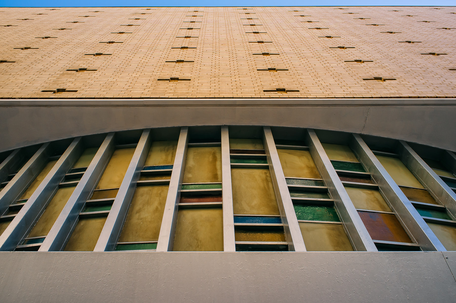 Exterior detail of the long-abandoned Statler Hilton Hotel in Downtown Dallas.