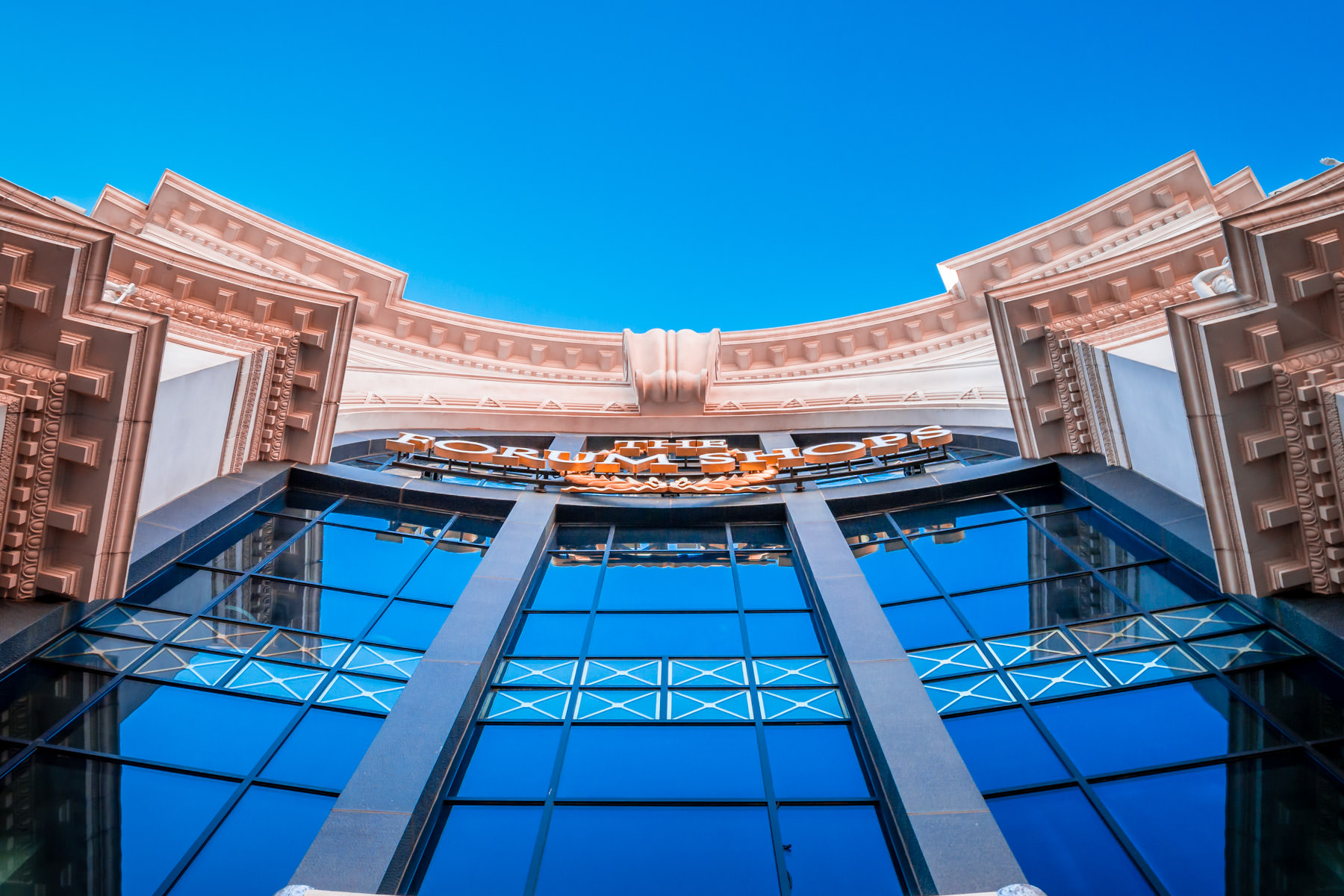 The façade of the main entrance to the Forum Shops at Caesars Palace, Las Vegas.