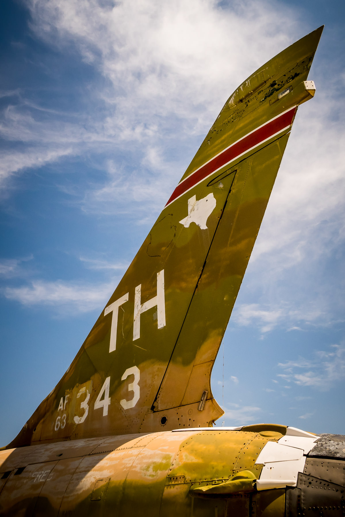 The tail of a Republic F-105 Thunderchief on display at Addison, Texas' Cavanaugh Flight Museum.