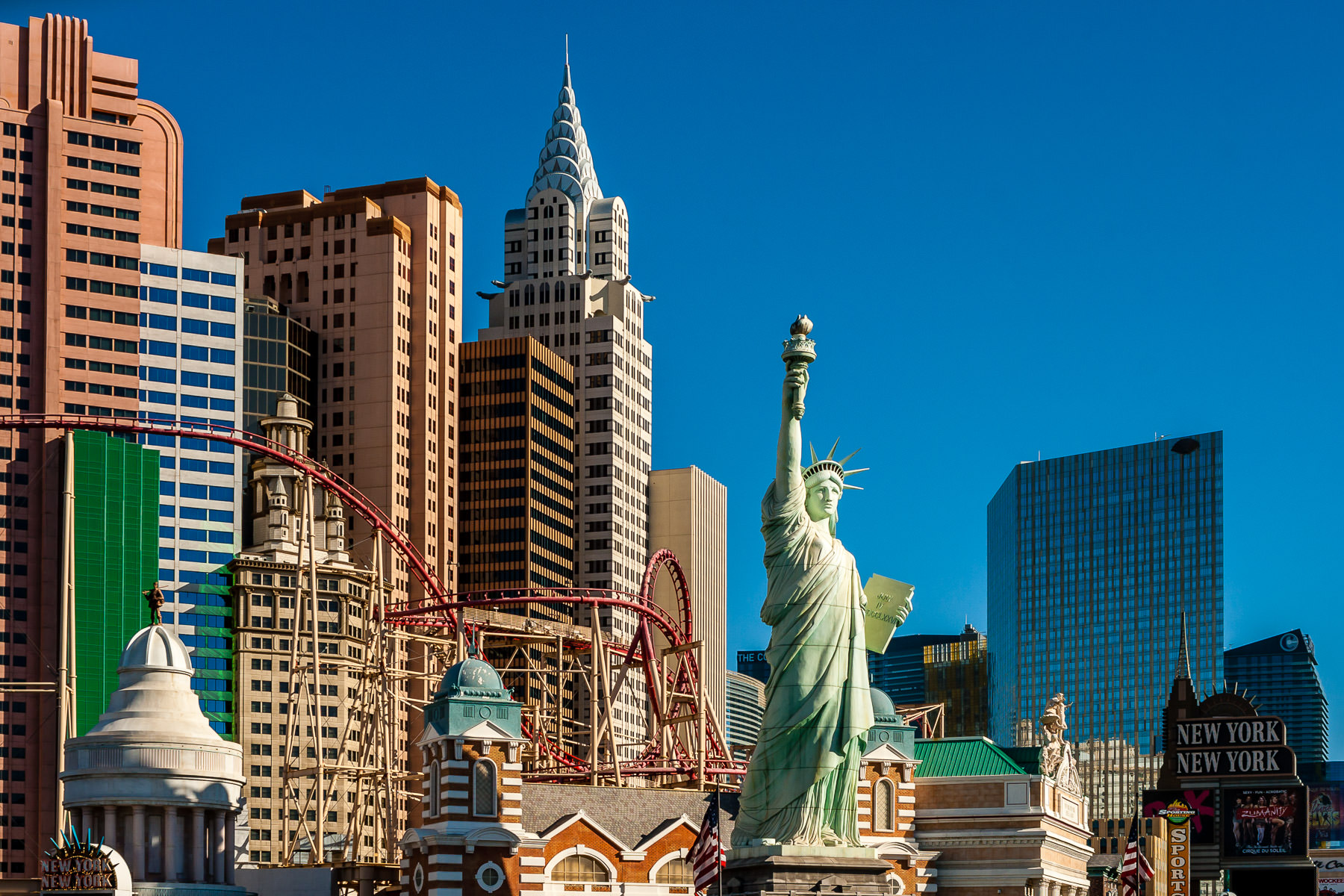 New York New York Hotel & Casino's replica of the Statue of Liberty rises into the Nevada desert sky in Las Vegas.