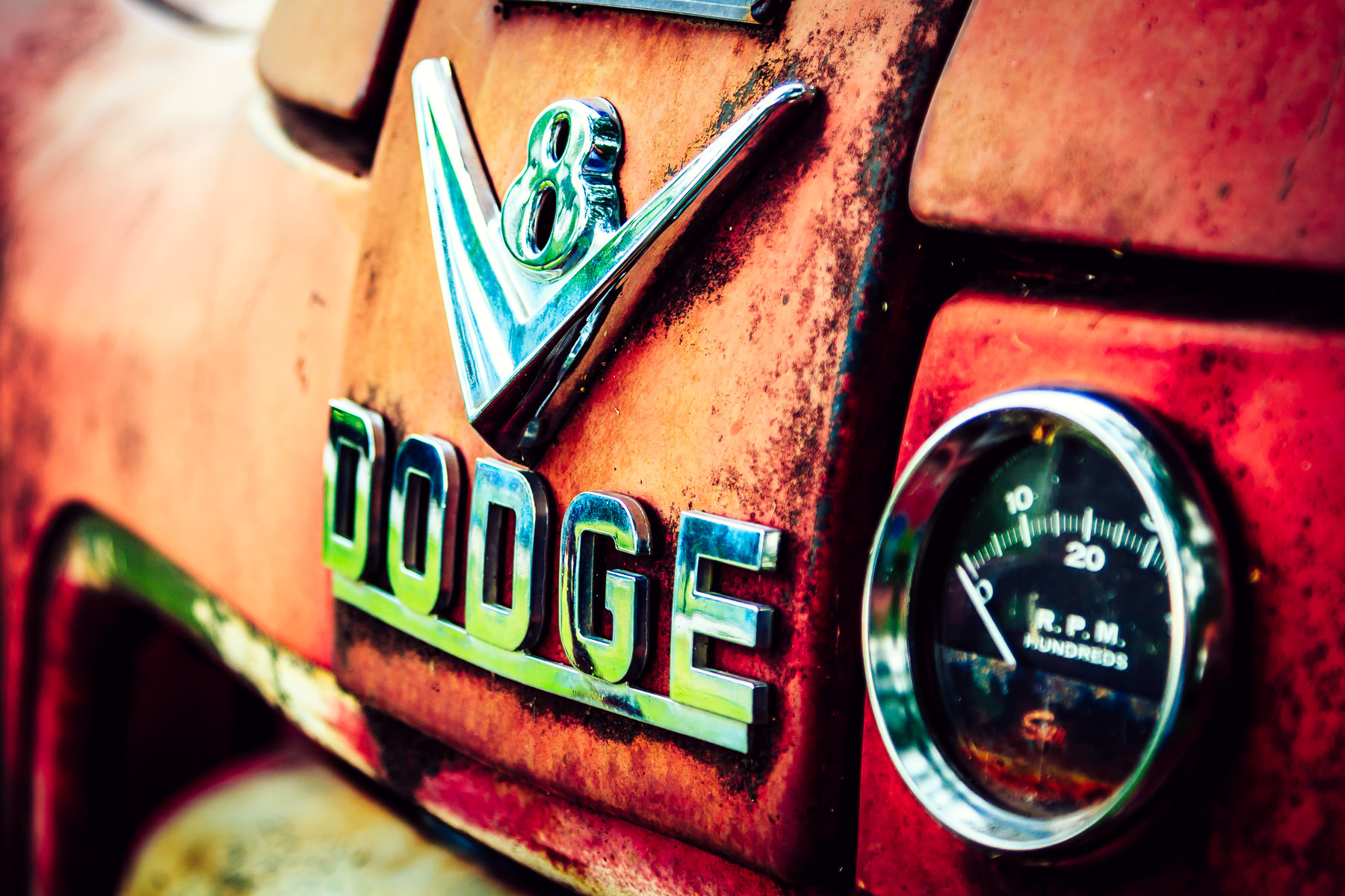 Detail from an old Dodge firetruck, abandoned to rust in Downtown Grapevine, Texas.