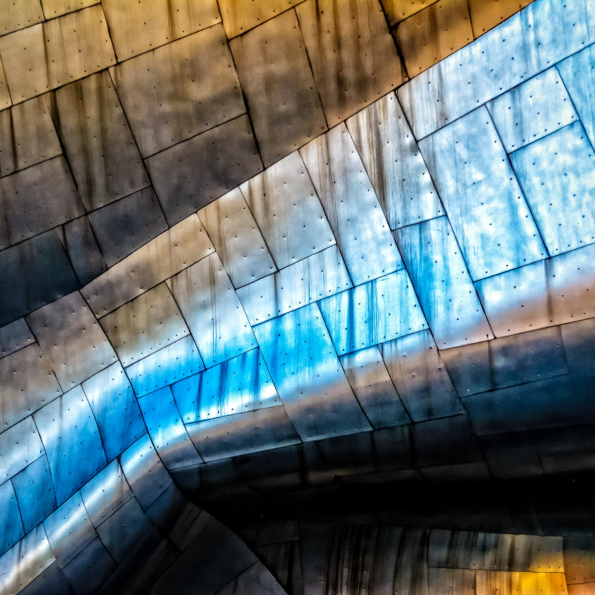 Architectural detail of architect Frank Gehry's Experience Music Project's stainless steel exterior in Seattle.
