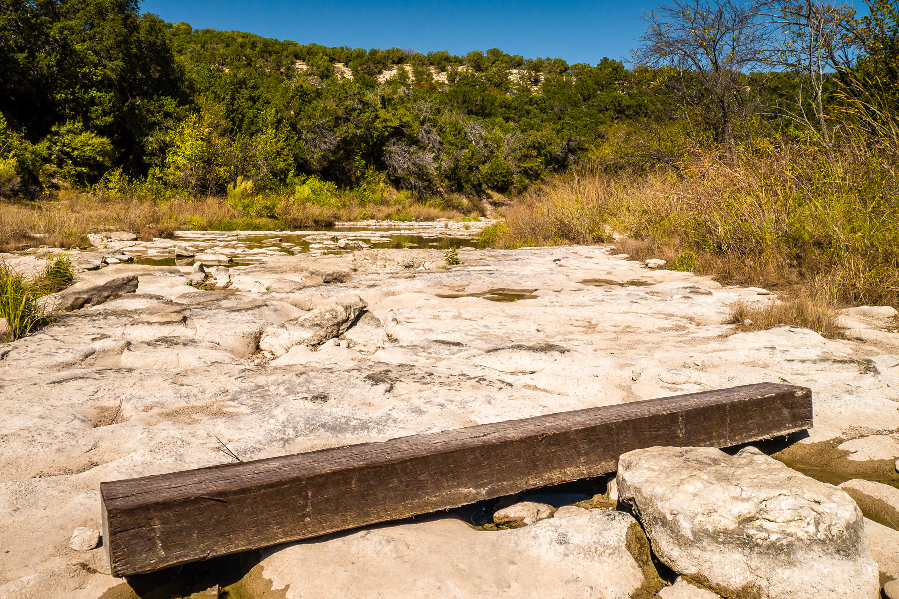 A wooden beam lies in the nearly-dry Paluxy River at Texas' Dinosaur Valley State Park.