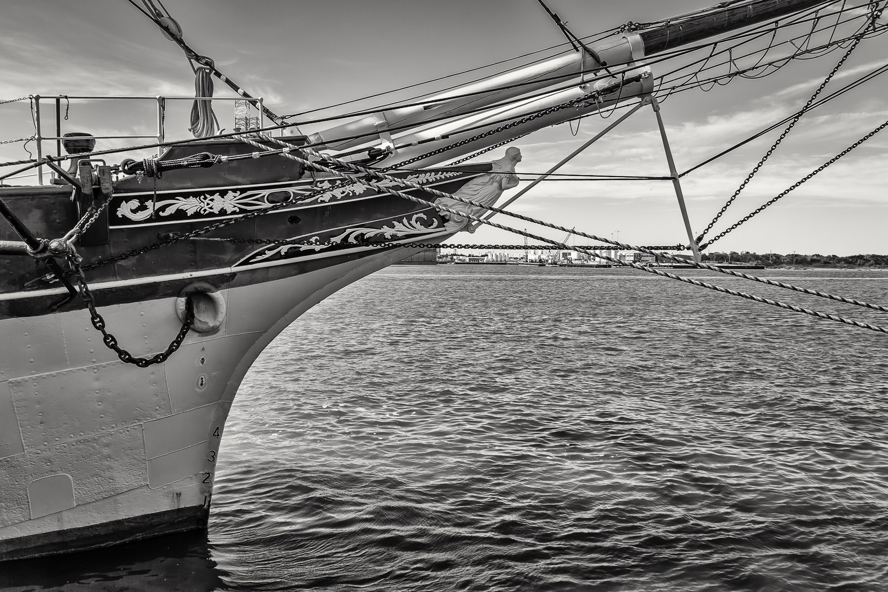 The bow of the Elissa, a tall ship launched in 1877 and now ported in Galveston, Texas.