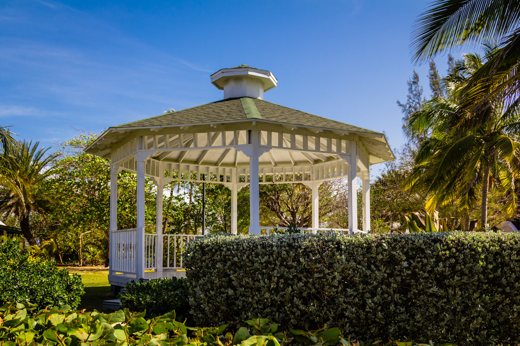 A gazebo in the gardens of the Pedro St. James National Historic Site—home of the oldest building in the Cayman Islands—in George Town, Grand Cayman