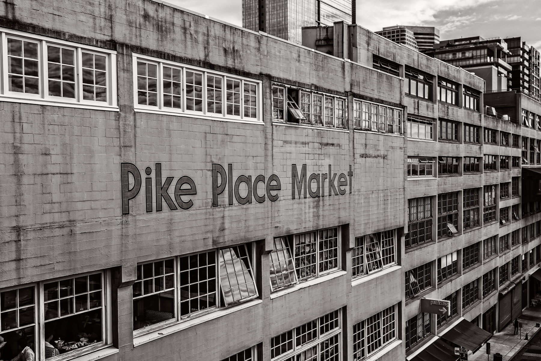 An exterior view of Seattle's landmark Pike Place Market.