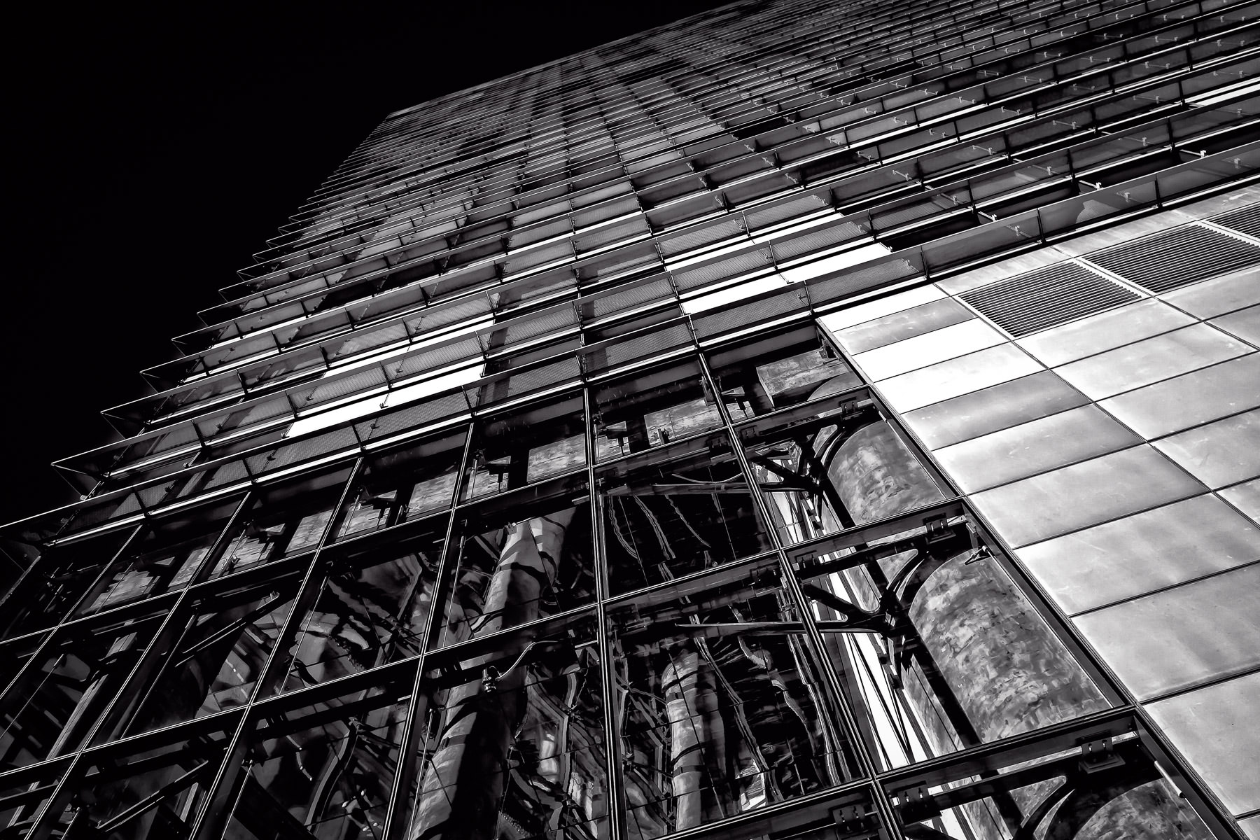 The inner structure of the eastern-most Veer Tower is exposed through multi-story windows in the building's lobby at Las Vegas' CityCenter.