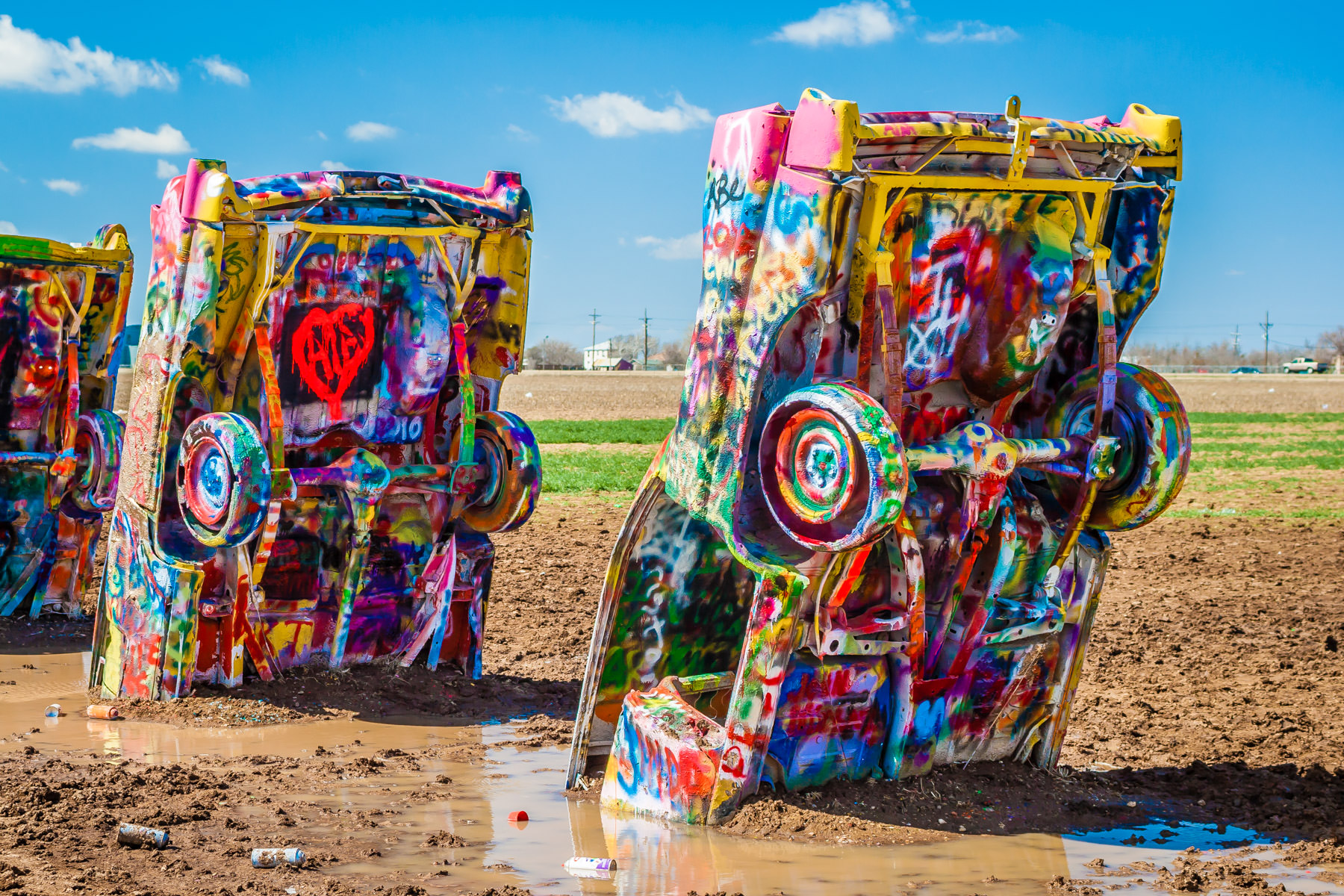 Just a few of the ten mid-Twentieth Century Cadillacs that make up Amarillo, Texas' Cadillac Ranch art installation.