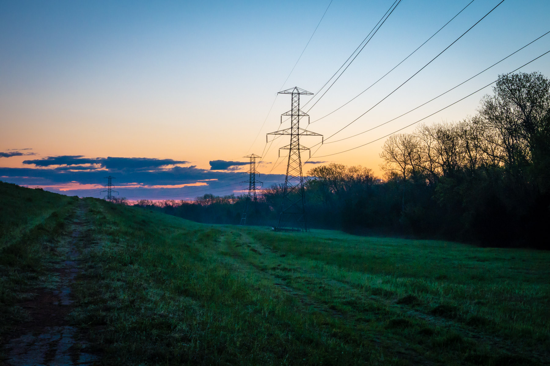 Power lines run along the edge of the Great Trinity Forest as dawn breaks over South Dallas.