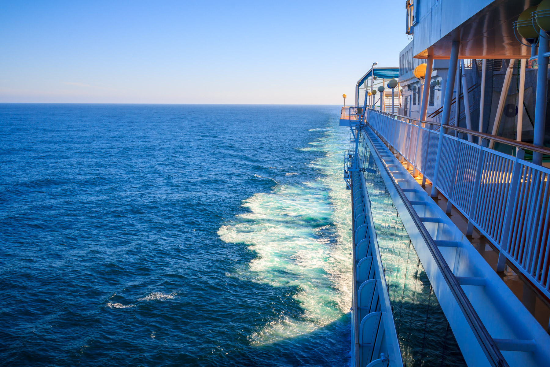 The cruise ship Norwegian Pearl cuts through the Pacific Ocean, somewhere off the west coast of British Columbia between Vancouver Island and Graham Island.
