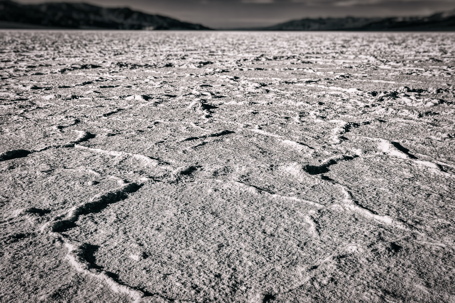 The salt flats at Death Valley National Park's Badwater Basin—the lowest point in North America at 282 feet (86 meters) below sea level.
