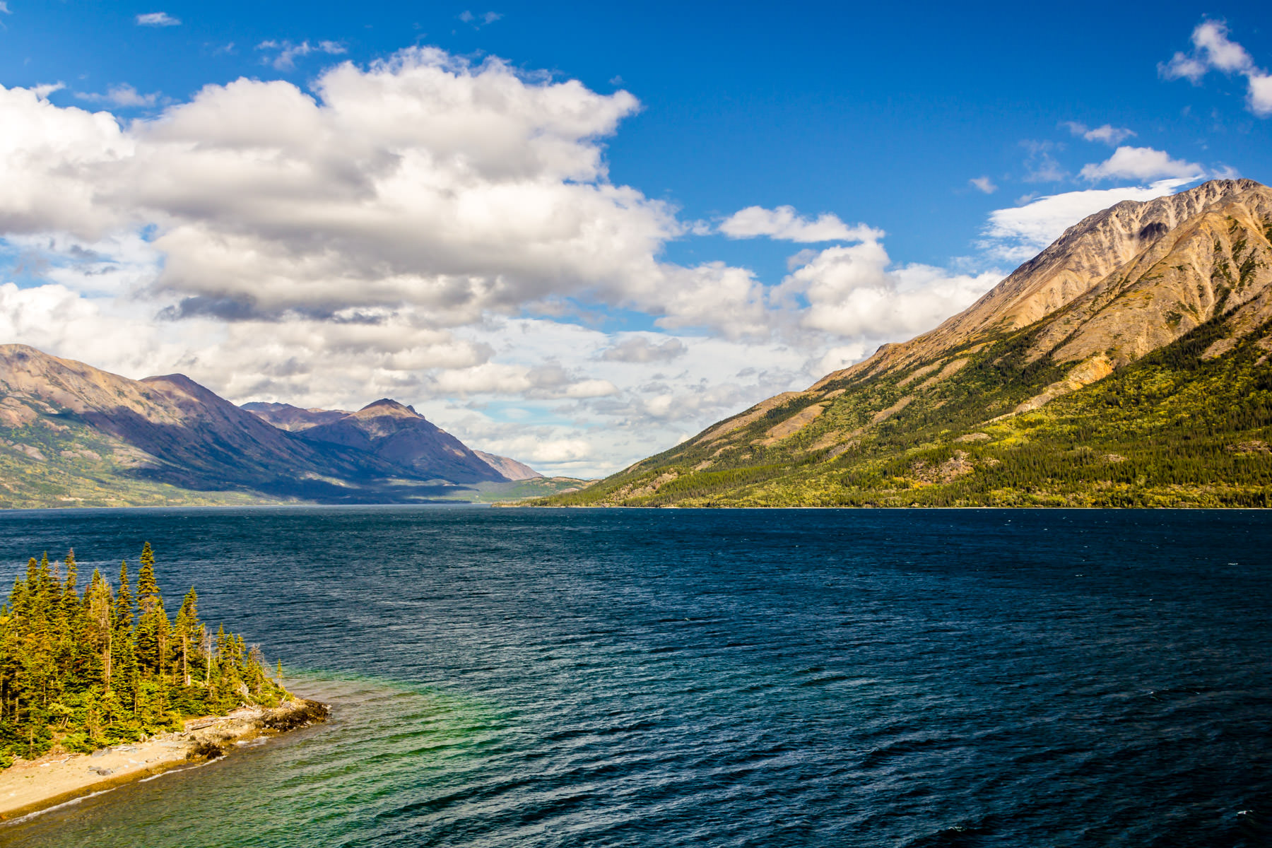 Clouds form over Tutshi Lake in British Columbia's Stikine Region.