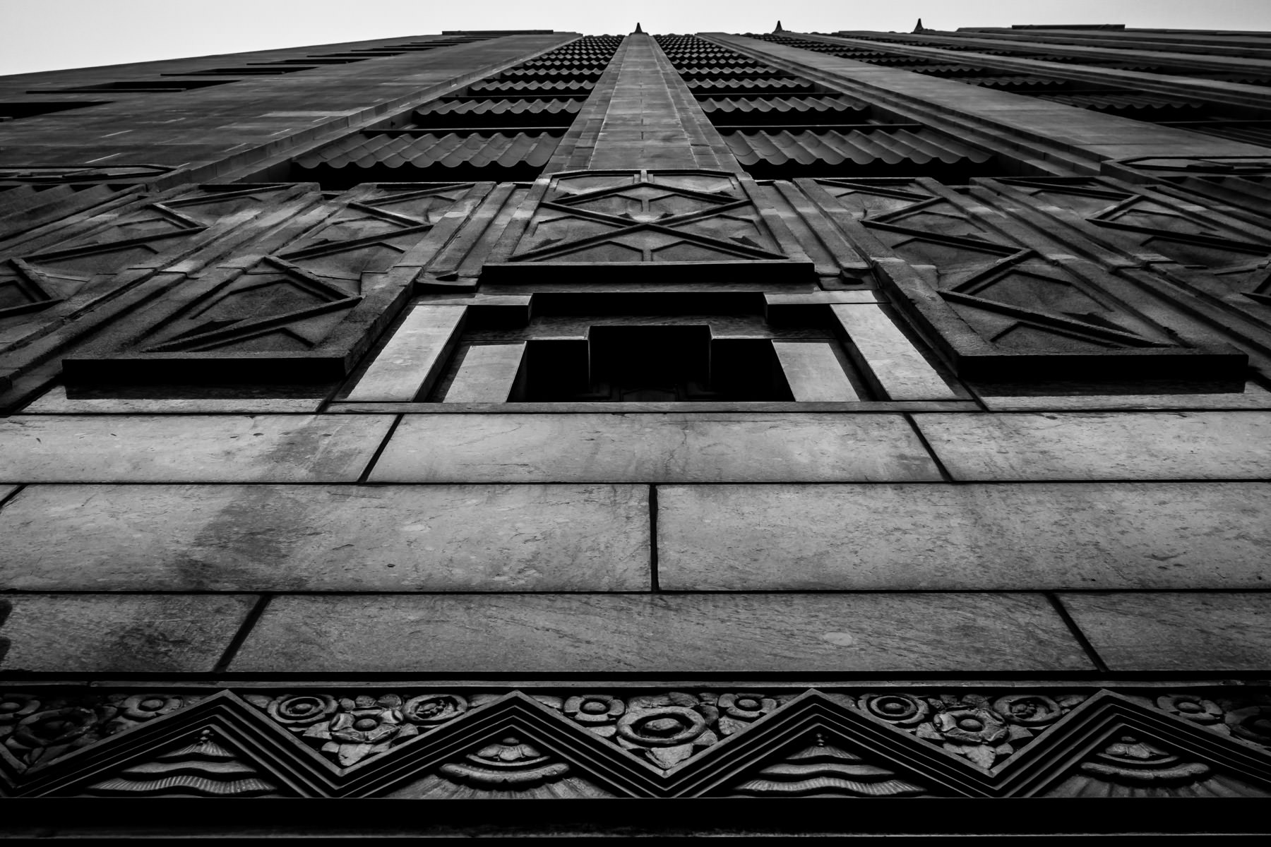 Exterior architectural detail of Downtown Fort Worth, Texas' Sinclair Building, built in 1930 and once the headquarters of the Sinclair-Prairie Oil Company.