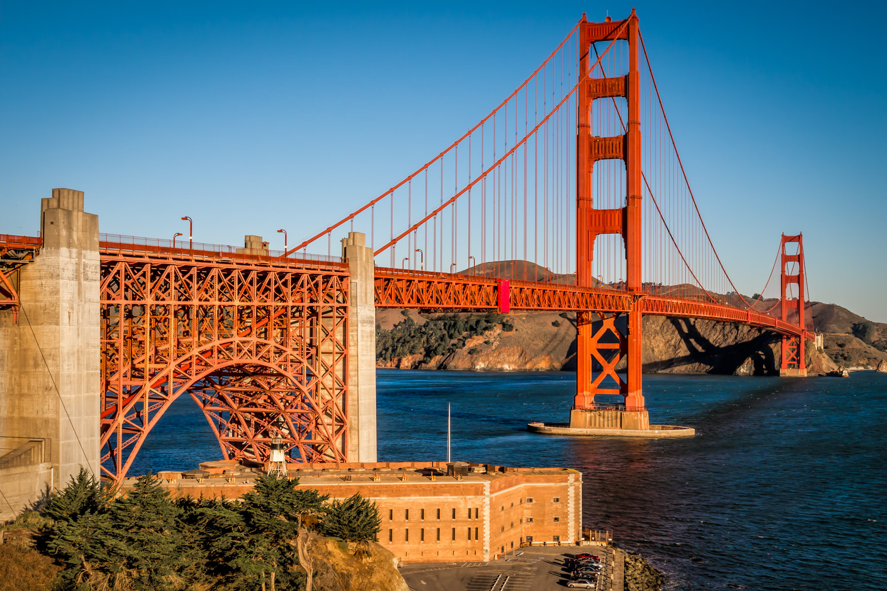 San Francisco's iconic Golden Gate Bridge arches over the historic Civil War-era Fort Point at the entrance to San Francisco Bay.