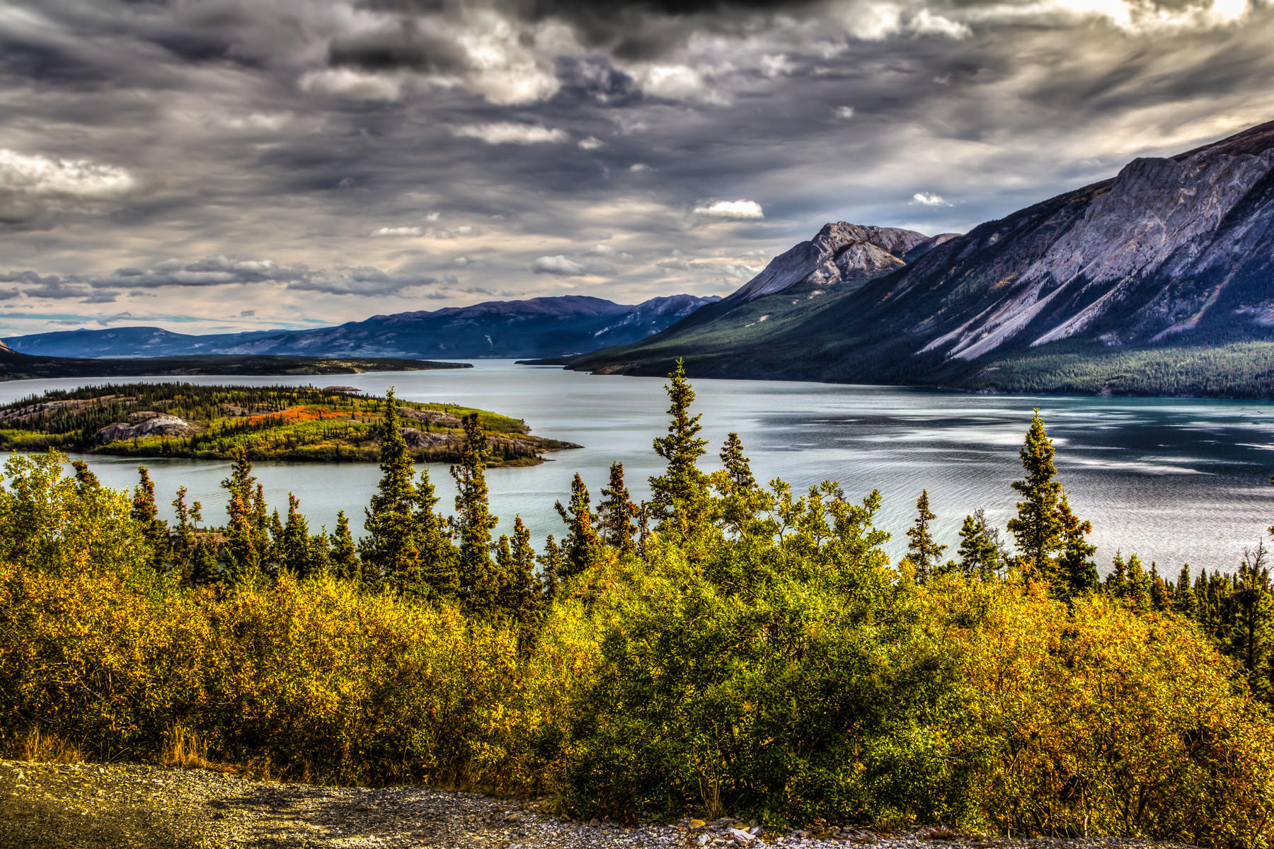 Storm clouds form over Yukon Territory, Canada's Tagish Lake.